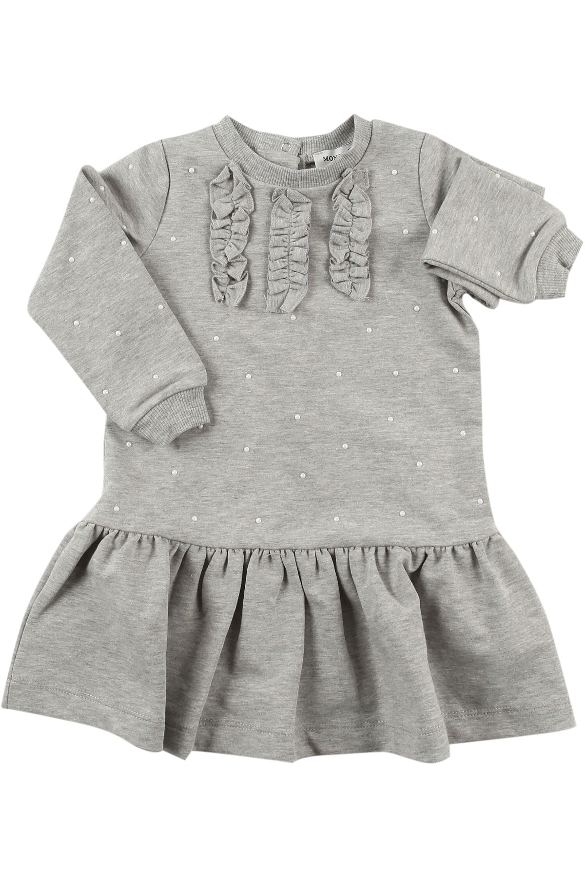 Image of Monnalisa Baby Dress for Girls, Grey, Cotton, 2017, 12M 18M 2Y 3M 3Y 6M 9M