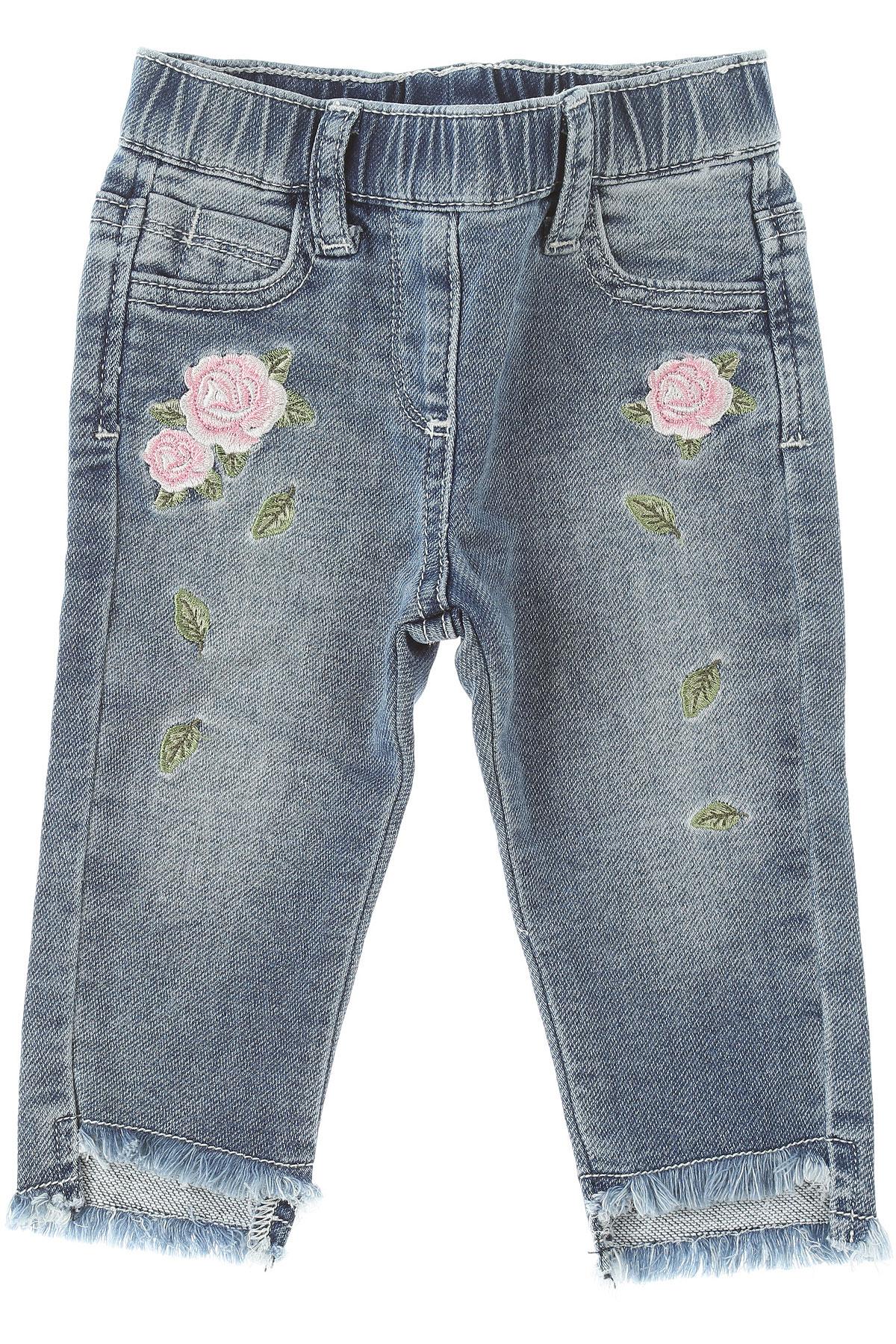 Monnalisa Baby Jeans for Girls On Sale, Blue Denim, Cotton, 2019, 12M 12M 18M 24M 2Y 3Y 9M