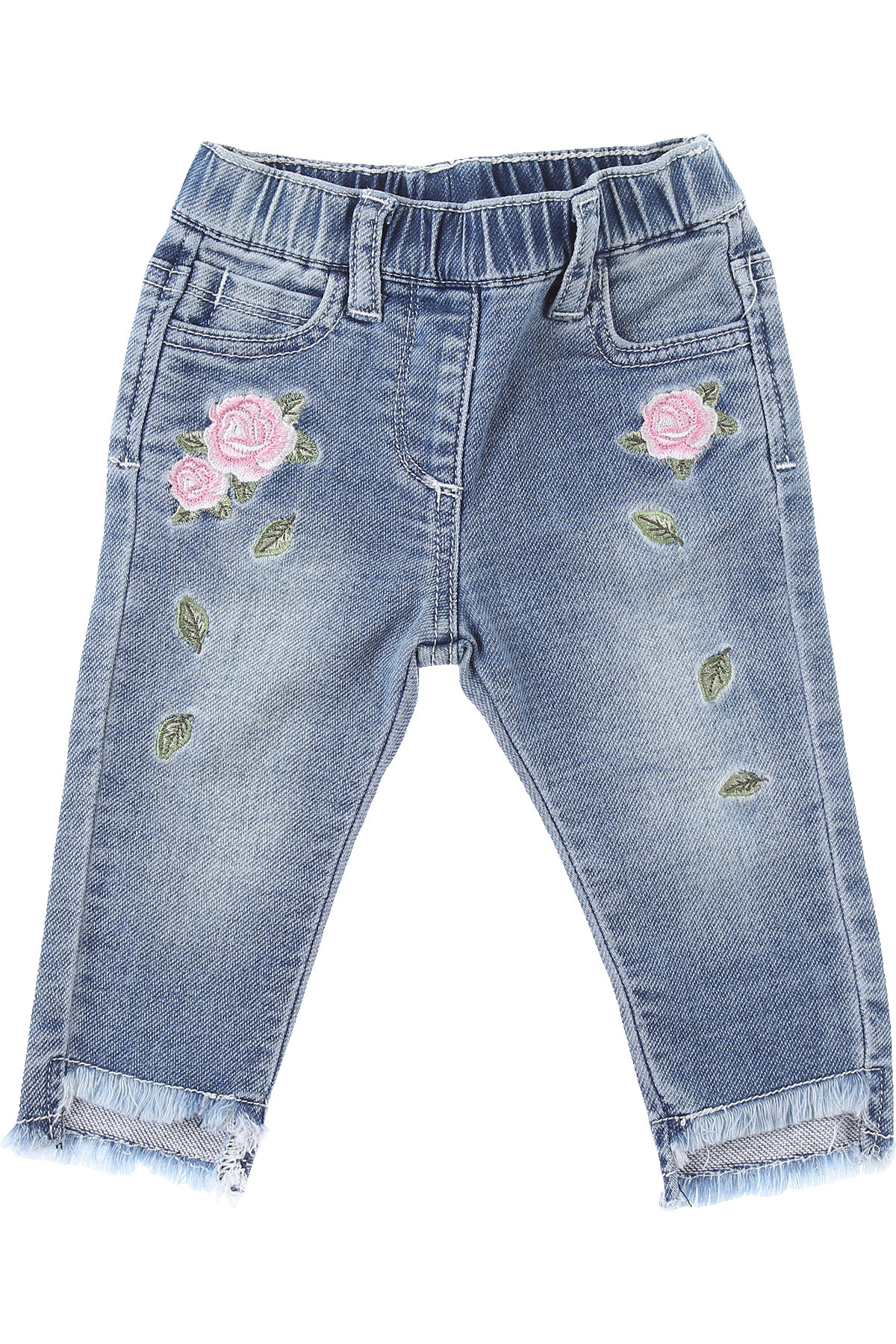 Monnalisa Baby Jeans for Girls On Sale, Blue Denim, Cotton, 2019, 12M 18M 2Y 3Y 9M