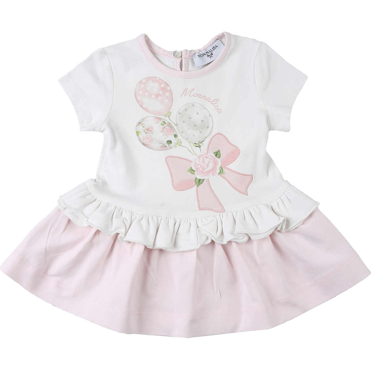 Monnalisa Baby Dress for Girls On Sale, White, Cotton, 2019, 2Y 3M 6M