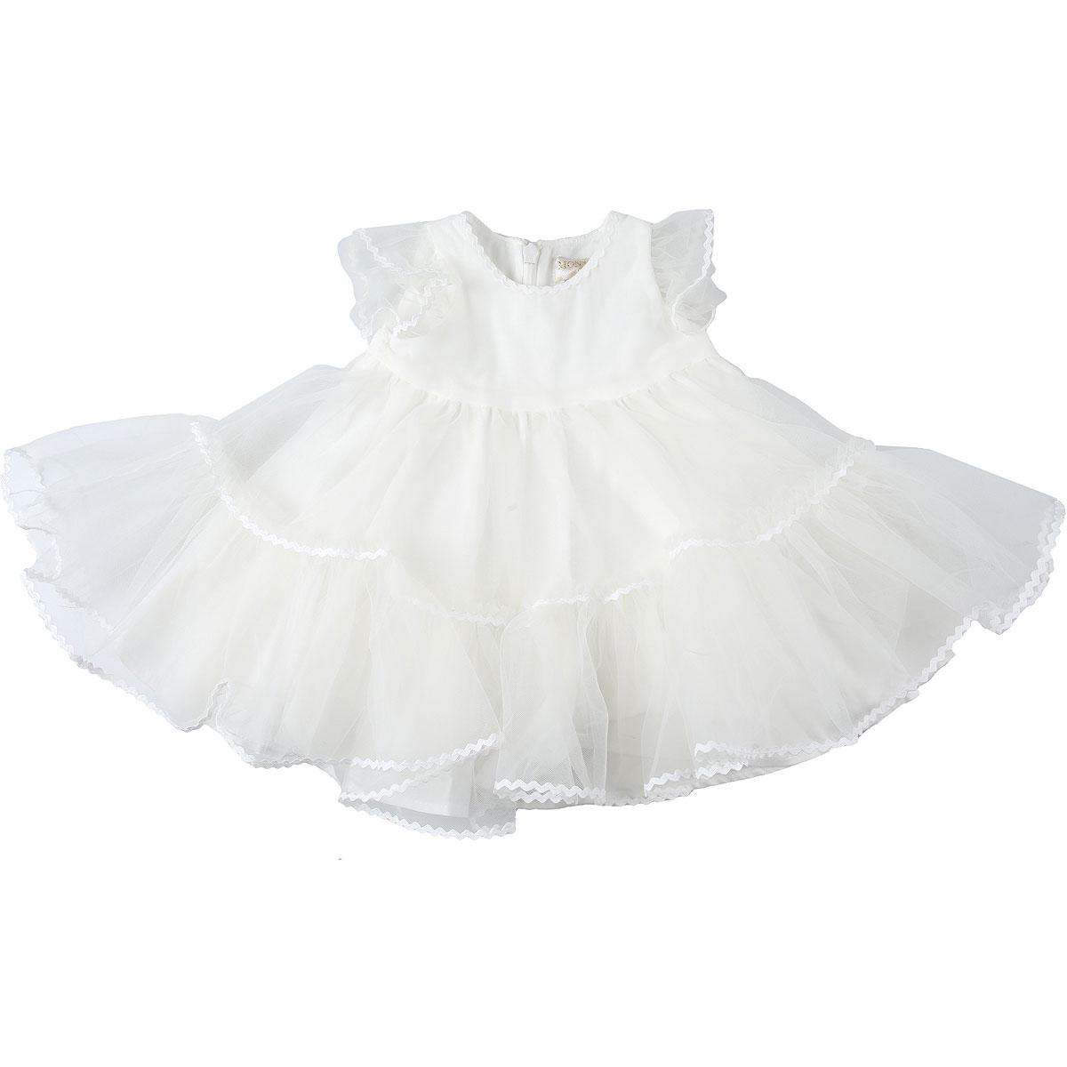 Monnalisa Baby Dress for Girls On Sale, White, polyamide, 2019, 12M 6M 9M