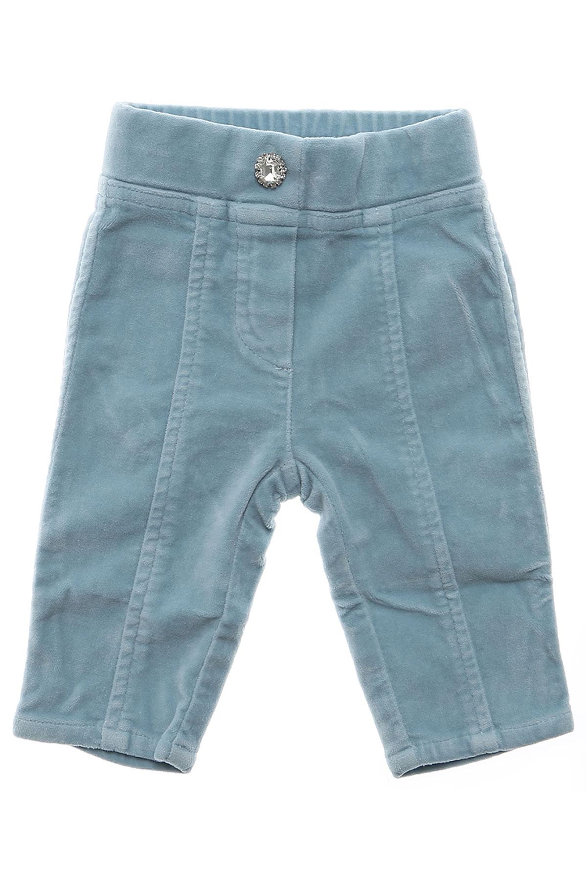 Monnalisa Pantalons Bébé pour Fille Pas cher en Soldes Outlet, Bleu ciel, Coton, 2017, 12M 18M 2Y 3M 3Y 9M
