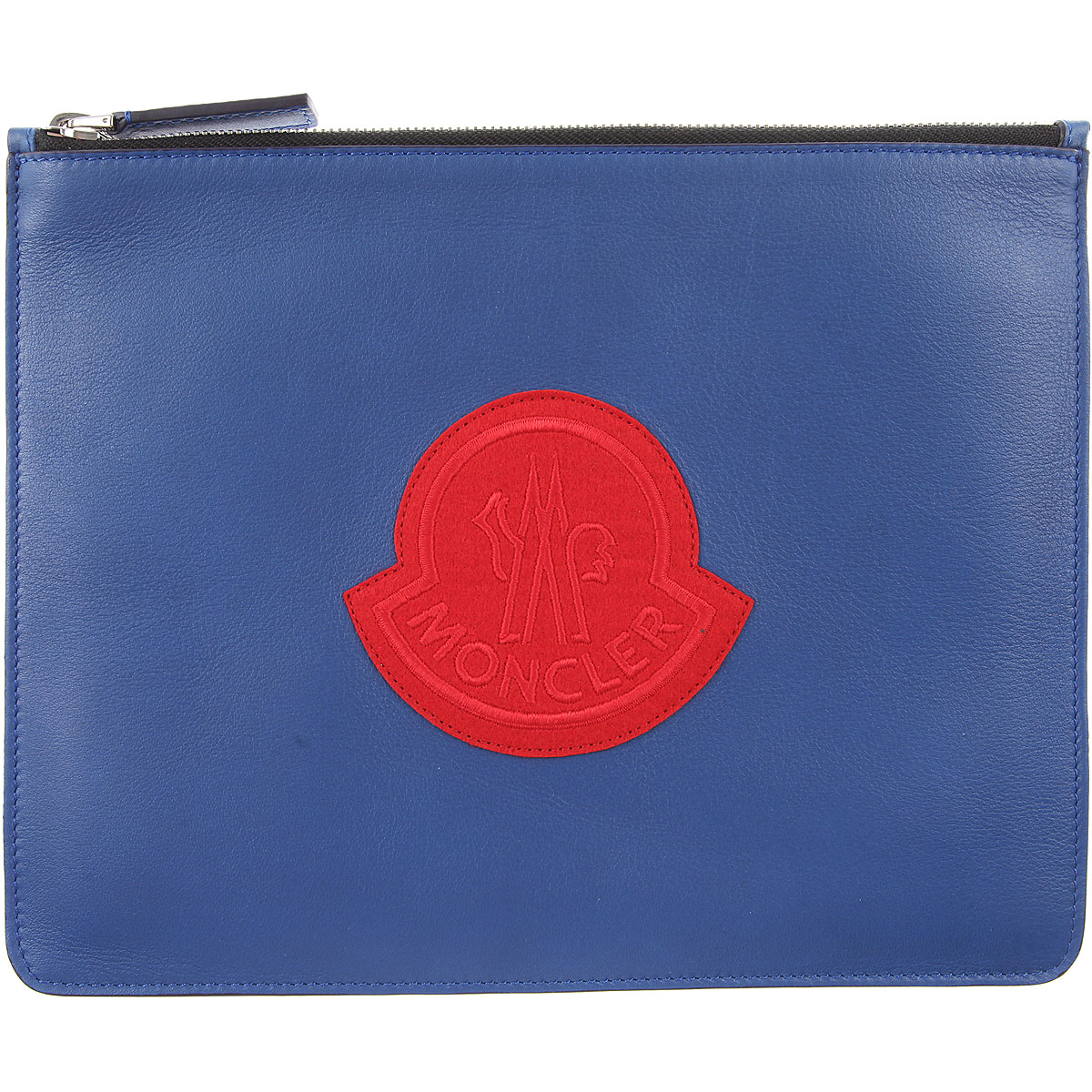 Image of Moncler Women\'s Pouch, Blue, Leather, 2017