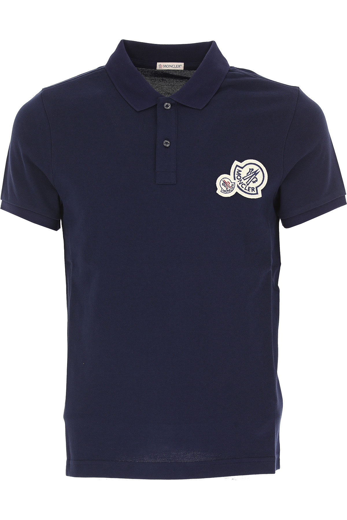 Image of Moncler Polo Shirt for Women, Navy Blue, Cotton, 2017, L M XL
