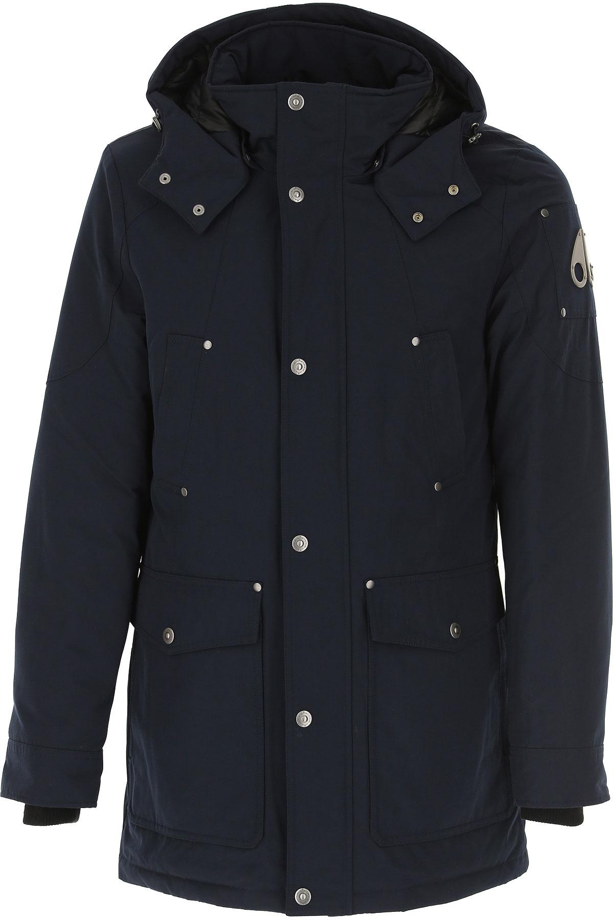 Moose Knuckles Down Jacket for Men, Puffer Ski Jacket On Sale, Navy Blue, Down, 2019, L M S