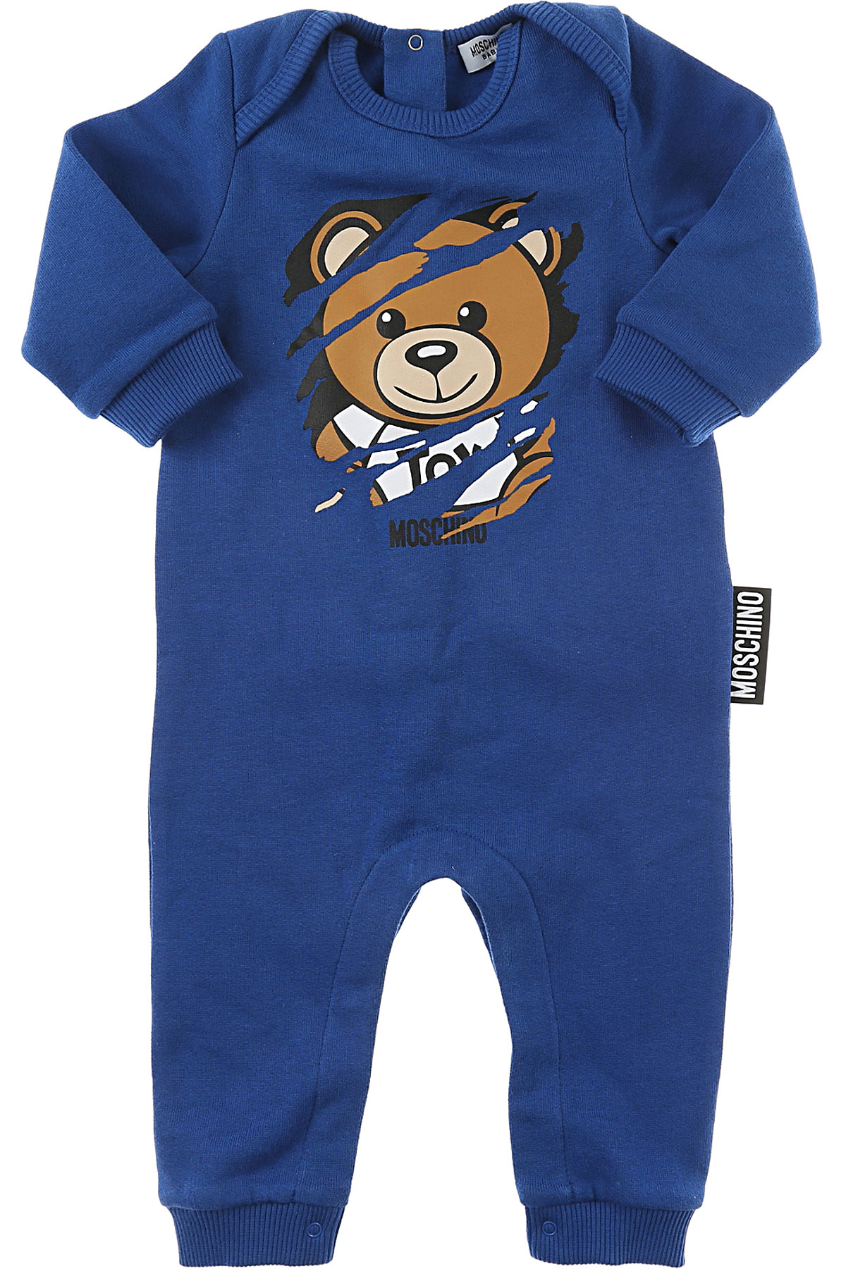 Image of Moschino Baby Bodysuits & Onesies for Boys, Blue, Cotton, 2017, 6M