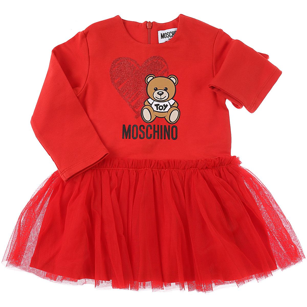 Moschino Baby Dress for Girls On Sale, Red, Cotton, 2019, 12M 18M 2Y 3Y 9M 9M