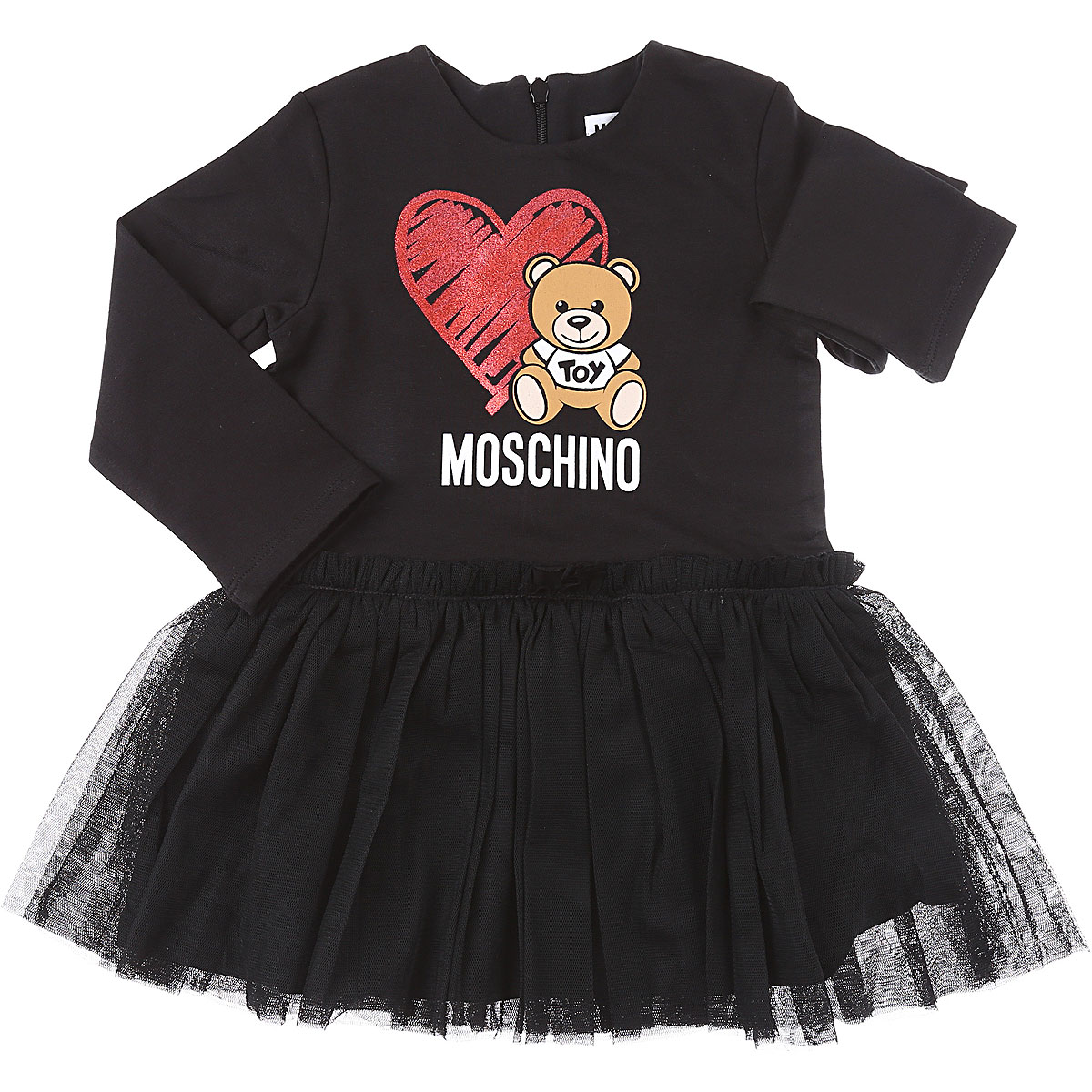 Moschino Baby Dress for Girls On Sale, Black, Cotton, 2019, 12M 18M 2Y 3Y 9M