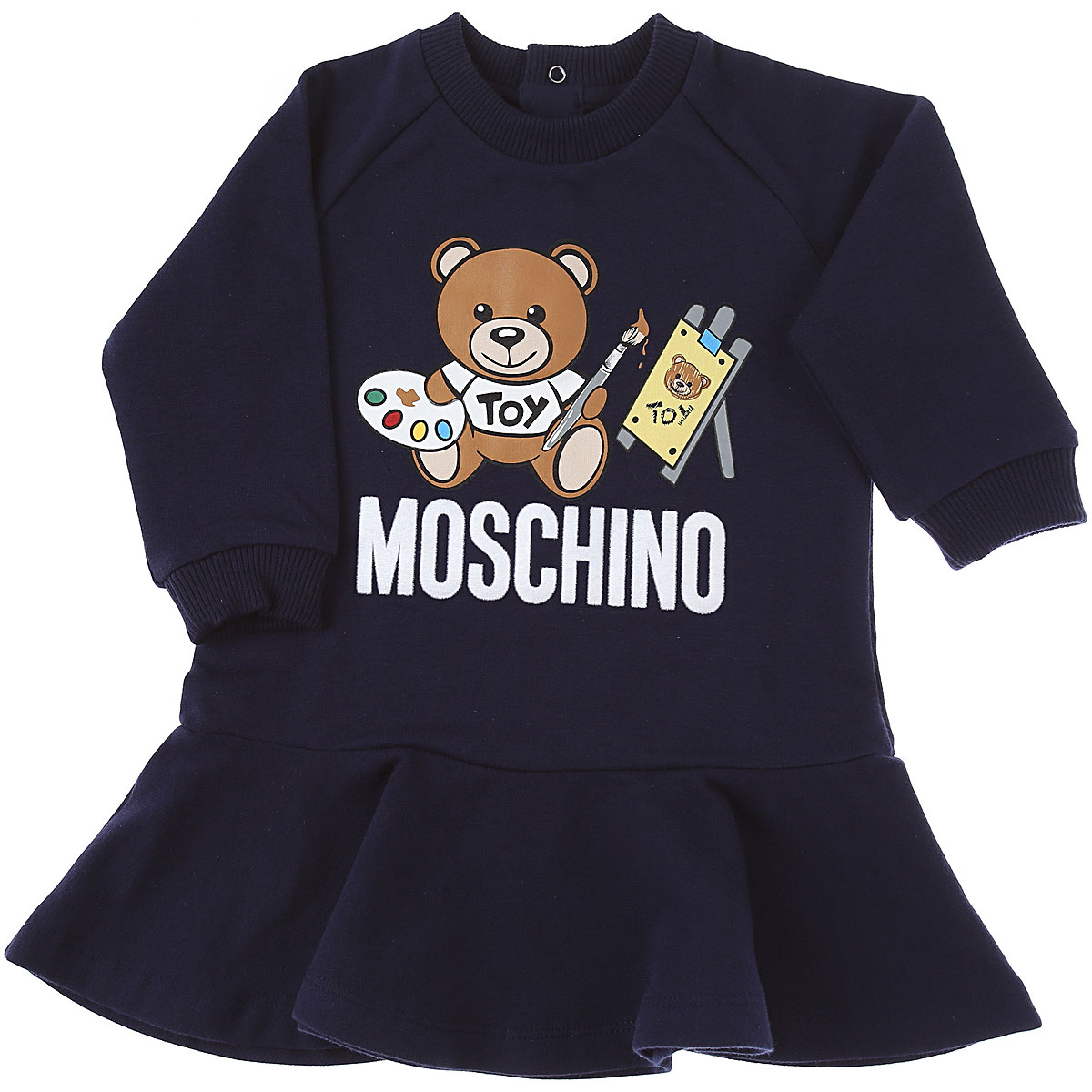 Moschino Baby Dress for Girls On Sale, Navy Blue, Cotton, 2019, 12M 18M 24M 2Y 3Y 9M