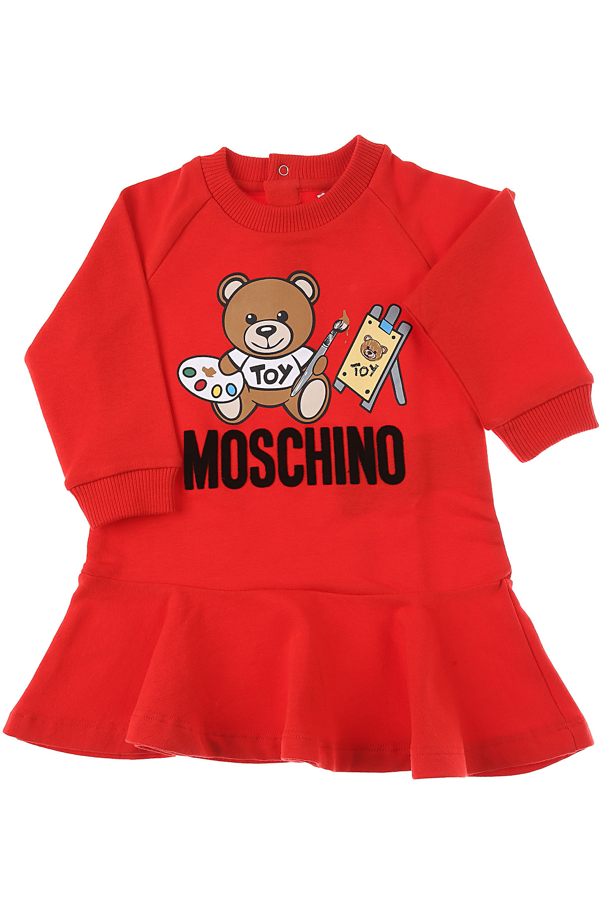 Moschino Baby Dress for Girls On Sale, Red, Cotton, 2019, 12M 18M 3Y 9M
