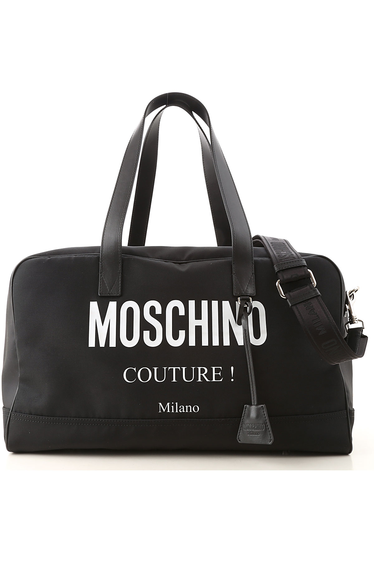 Moschino Weekender Duffel Bag for Men On Sale, Black, Synthetic Fiber, 2019