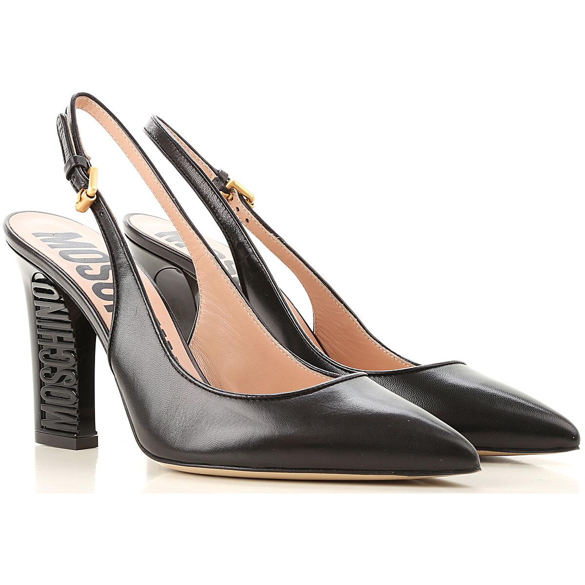 Moschino Zapatos de Tacón de Salón Baratos en Rebajas, Negro, Piel, 2017, 35 36 38 39 40