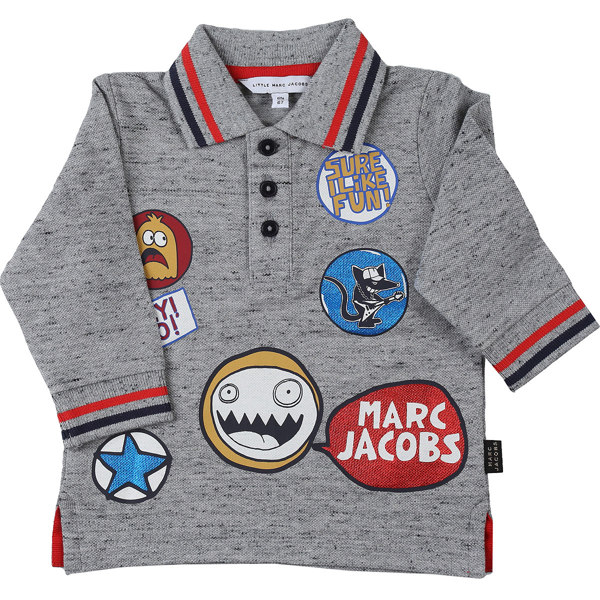 Marc Jacobs Baby Polo Shirt for Boys On Sale, Grey Melange, Cotton, 2019, 12 M 18M 2Y 3Y 6M 9M
