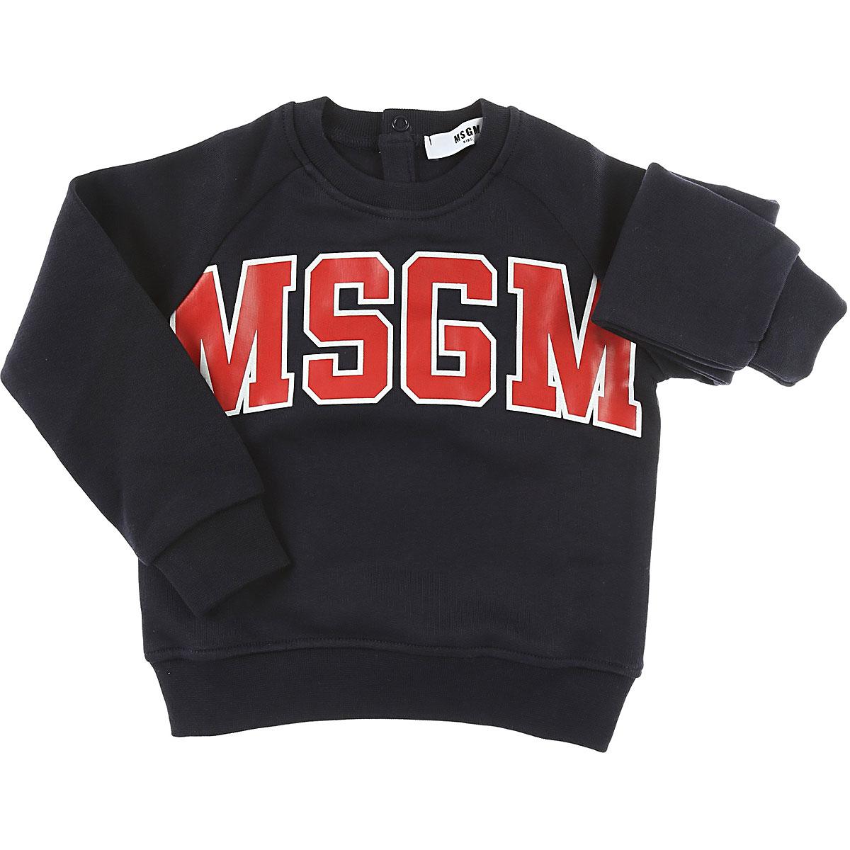 MSGM Baby Sweatshirts & Hoodies for Boys On Sale, Blue, Cotton, 2017, 12M 18M 2Y 9M