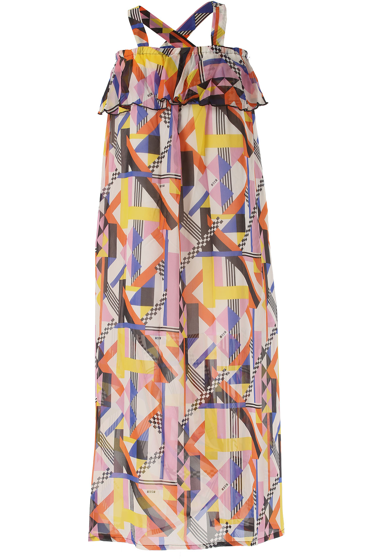 Image of MSGM Girls Dress On Sale in Outlet, Multicolor, Silk, 2017, 10Y