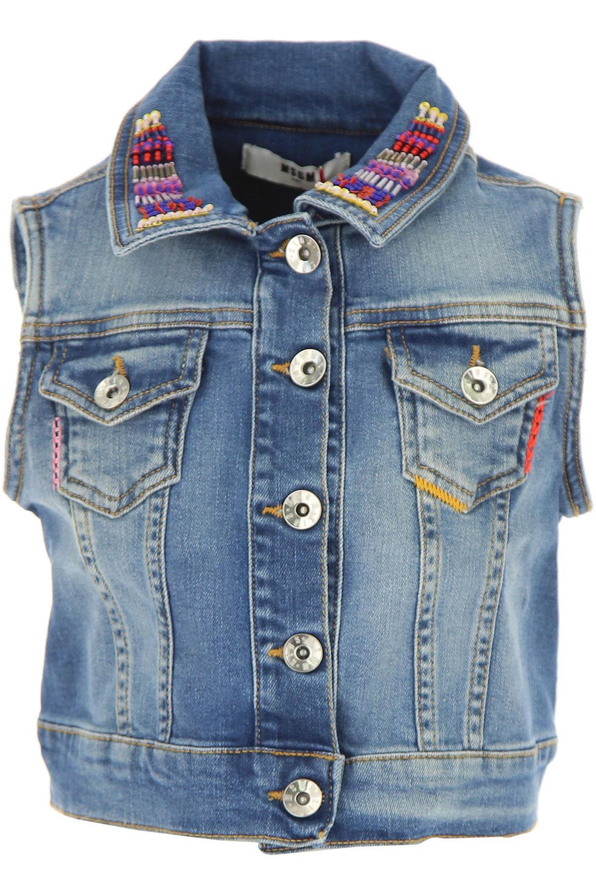 MSGM Kids Jacket for Girls On Sale in Outlet, Blue Denim, Cotton, 2017, 14Y 6Y