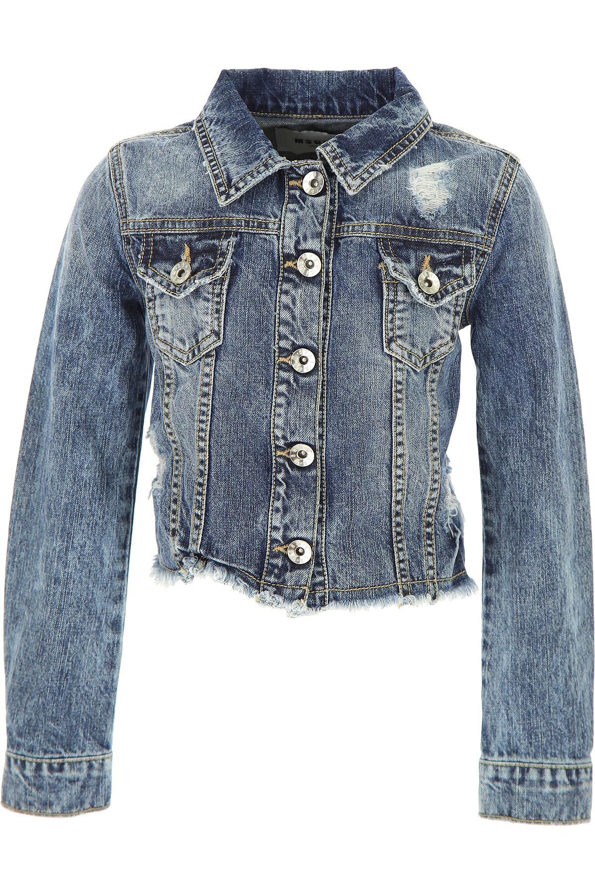 MSGM Kids Jacket for Girls On Sale in Outlet, Denim Blue, Cotton, 2017, 10Y 6Y