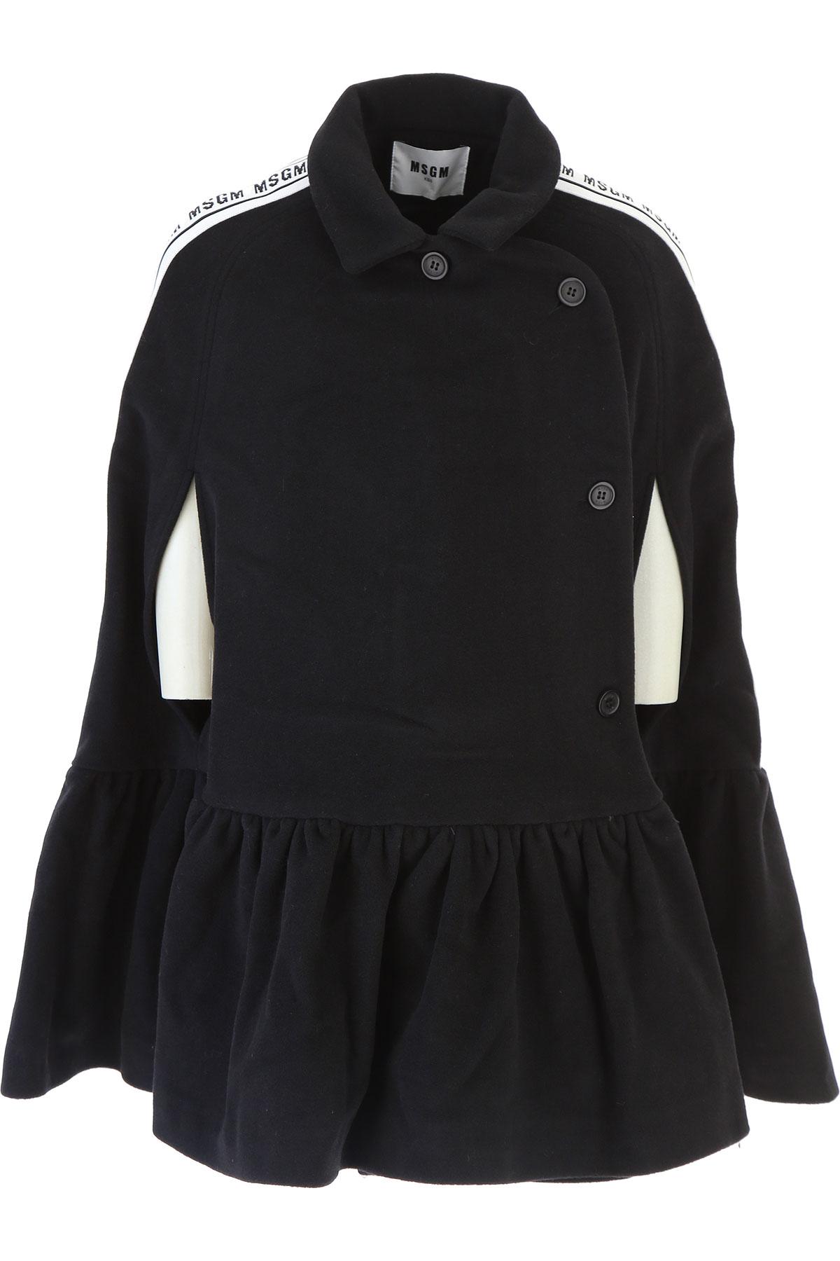 Image of MSGM {DESIGNER} Kids Coat for Girls, Black, Virgin wool, 2017, 10Y 14Y 16Y