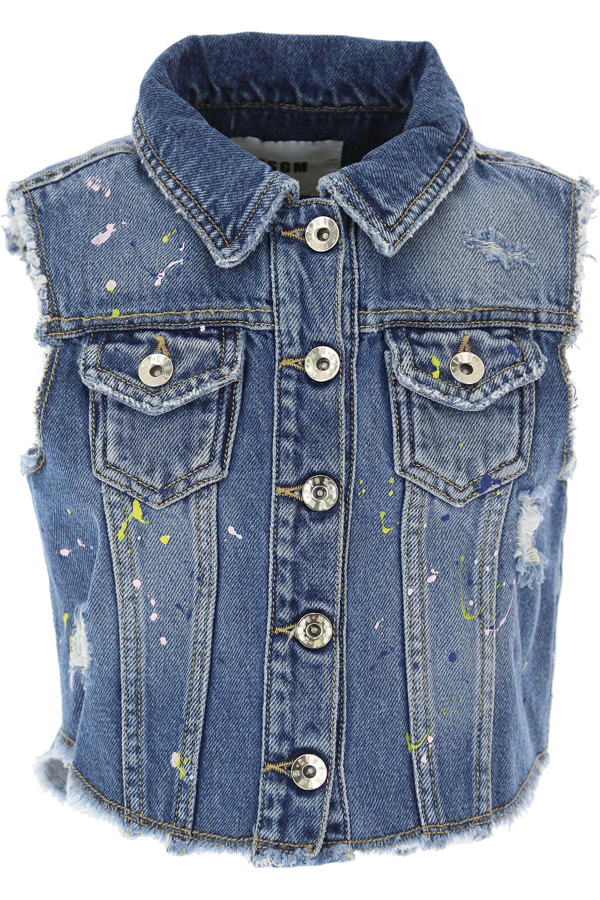 MSGM Kids Jacket for Girls, Blue Denim, Cotton, 2017, 10Y 14Y