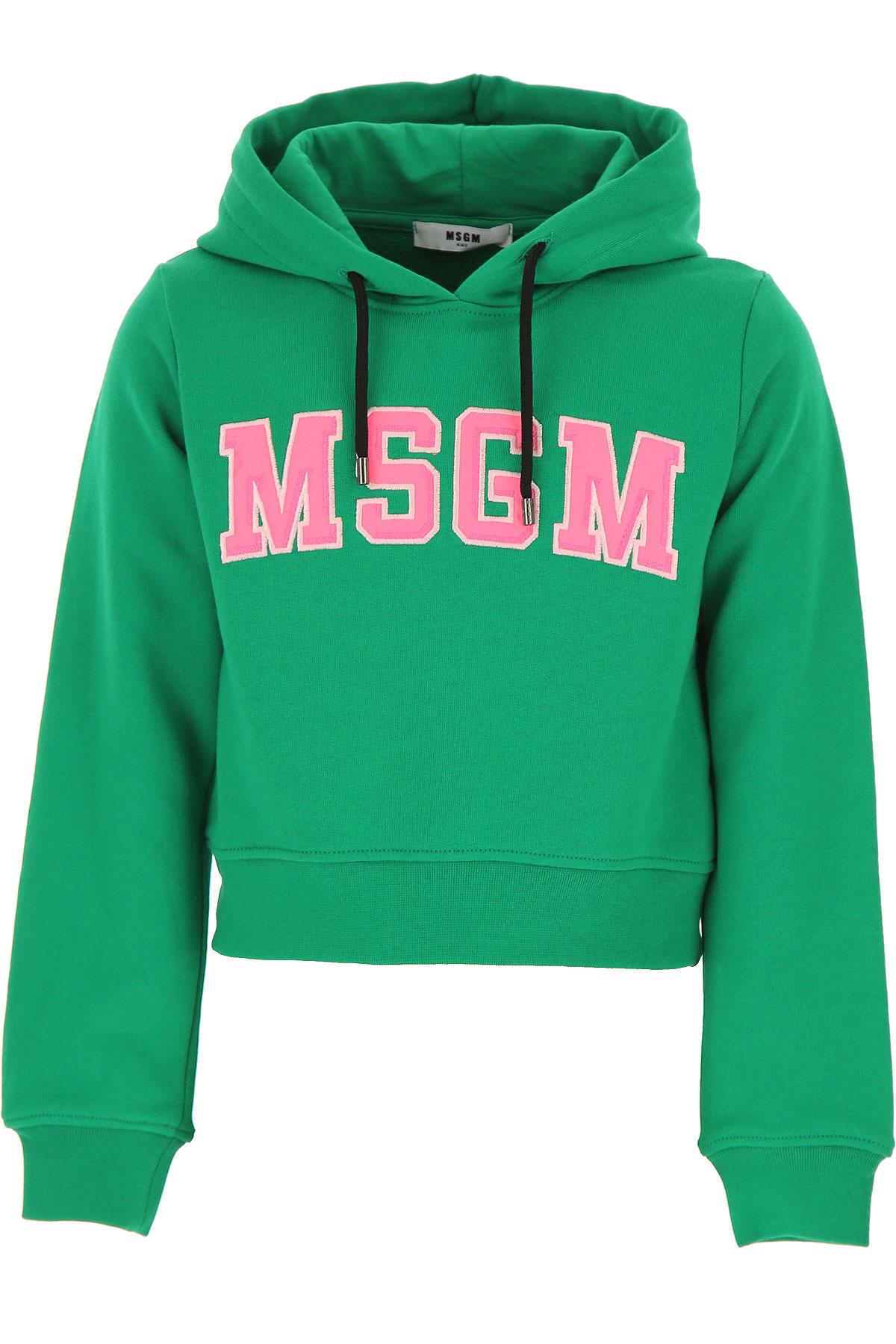 MSGM Kids Sweatshirts & Hoodies for Girls, Green, Cotton, 2017, 10Y 14Y 8Y