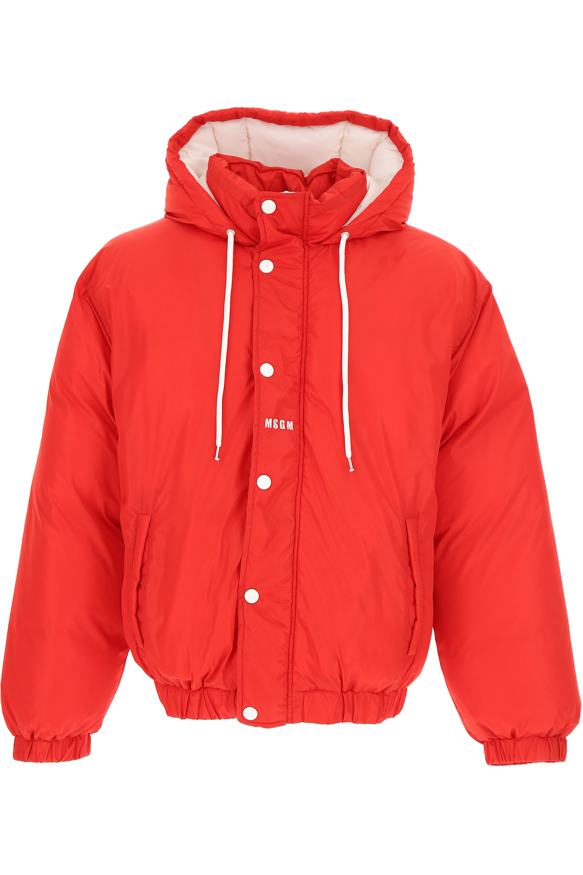 Image of MSGM Down Jacket for Men, Puffer Ski Jacket, Red, polyamide, 2017, L M S XS