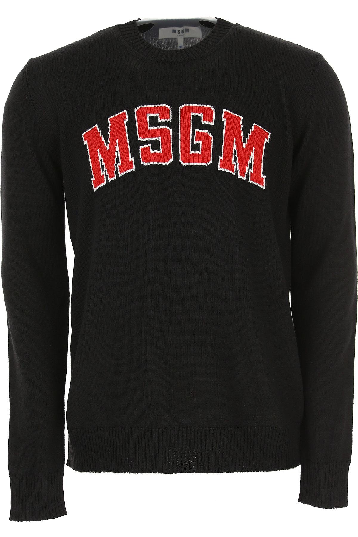 MSGM Sweater for Men Jumper, Black, Virgin wool, 2017, L M S XL