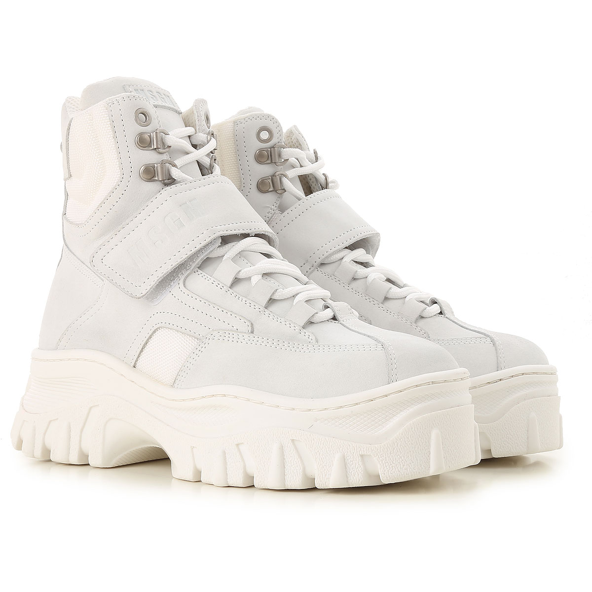 Image of MSGM Boots for Women, Booties, White, Suede leather, 2017, 5 6