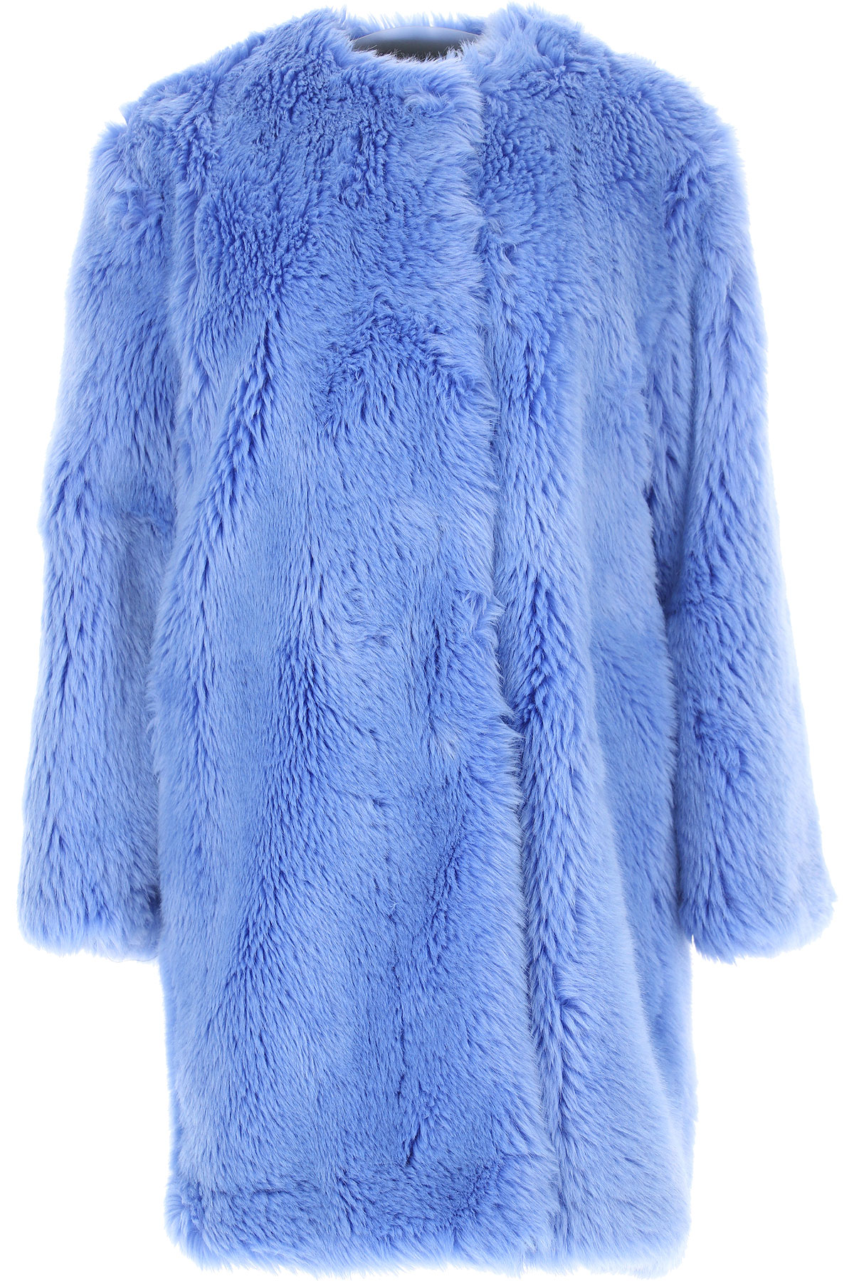 Image of MSGM Women\'s Coat, Sky, Acrylic, 2017, UK 6 - US 4 - EU 38 UK 8 - US 6 - EU 40