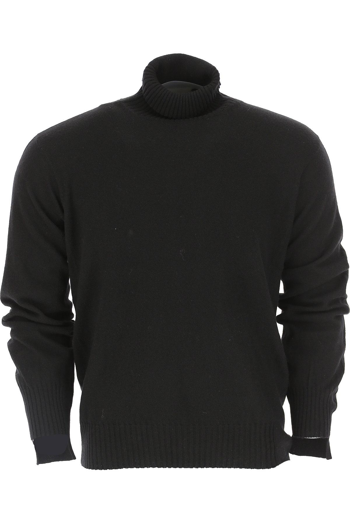 Maison Flaneur Sweater for Men Jumper On Sale, Black, Virgin wool, 2019, L M S XL