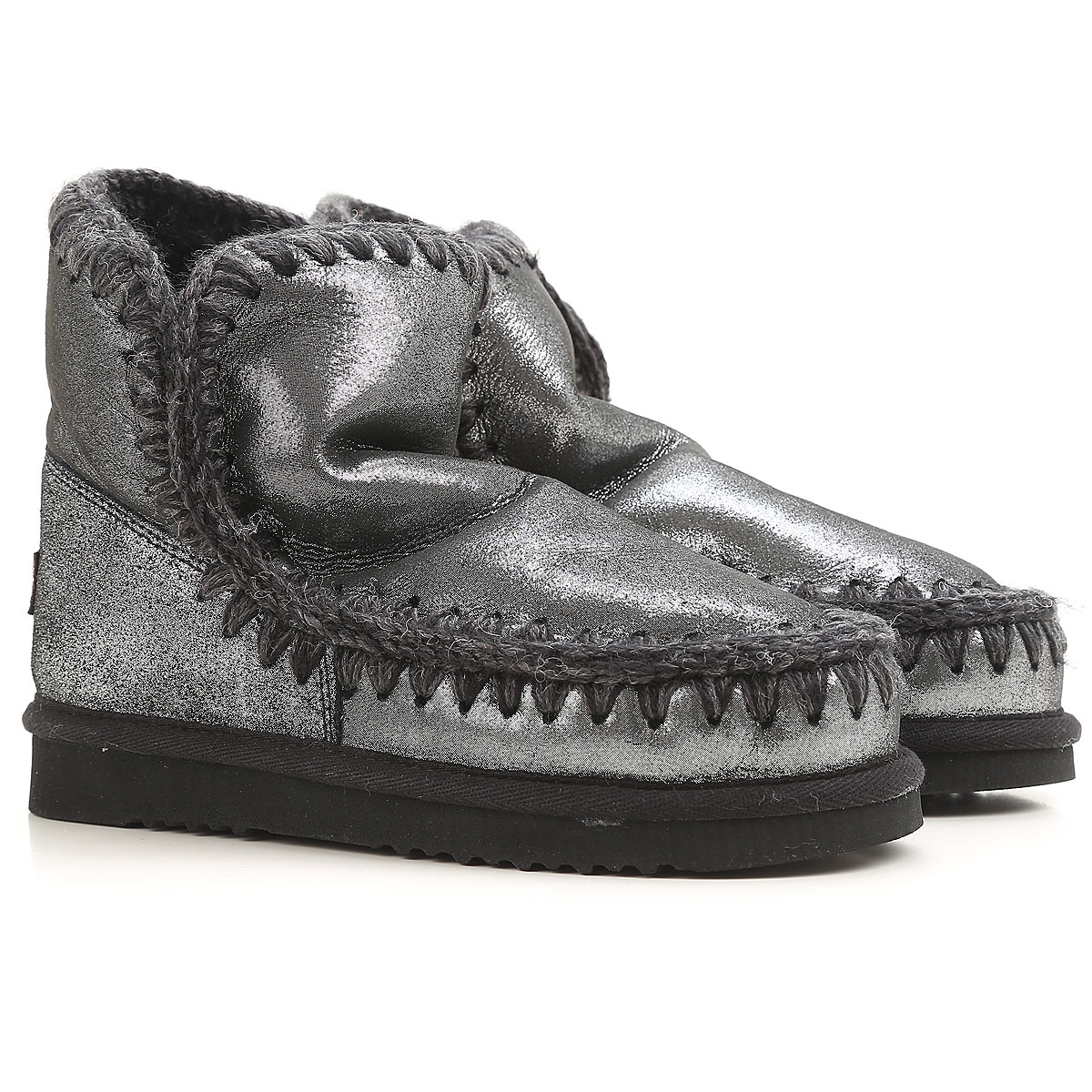 Image of Mou Boots for Women, Booties, Silver Black, Fabric, 2017, EUR 39 - UK 6 - USA 8.5 EUR 40 - UK 7 - USA 9.5 EUR 41 - UK 8 - USA 10.5