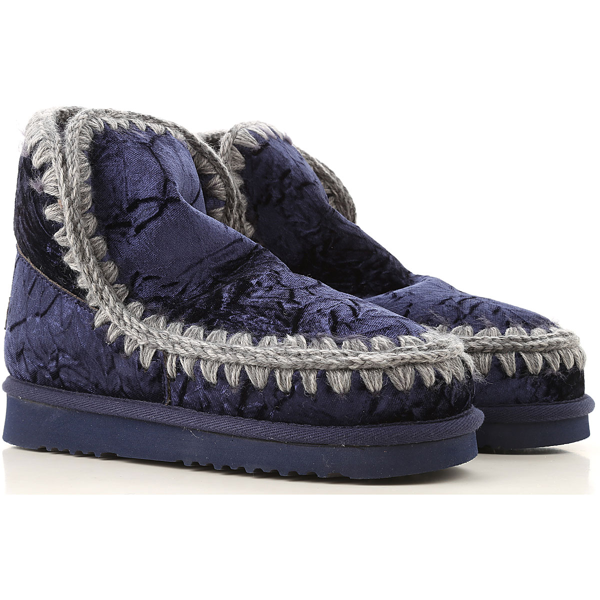 Image of Mou Boots for Women, Booties, Velvet Blue, Velvet, 2017, EUR 36 - UK 3 - USA 5.5 EUR 37 - UK 4 - USA 6.5 EUR 38 - UK 5 - USA 7.5 EUR 39 - UK 6 - USA 8.5 EUR 40 - UK 7 - USA 9.5
