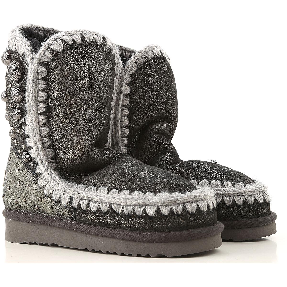 Image of Mou Boots for Women, Booties, Asphalt Grey, Leather, 2017, EUR 36 - UK 3 - USA 5.5 EUR 37 - UK 4 - USA 6.5 EUR 38 - UK 5 - USA 7.5 EUR 39 - UK 6 - USA 8.5 EUR 40 - UK 7 - USA 9.5