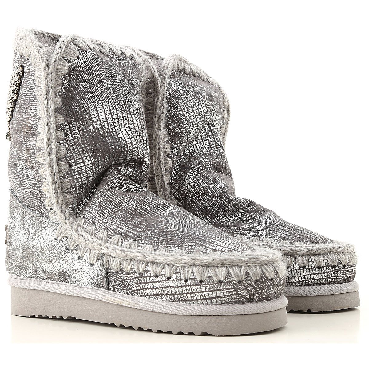Image of Mou Boots for Women, Booties, Silver, Leather, 2017, EUR 36 - UK 3 - USA 5.5 EUR 37 - UK 4 - USA 6.5 EUR 40 - UK 7 - USA 9.5