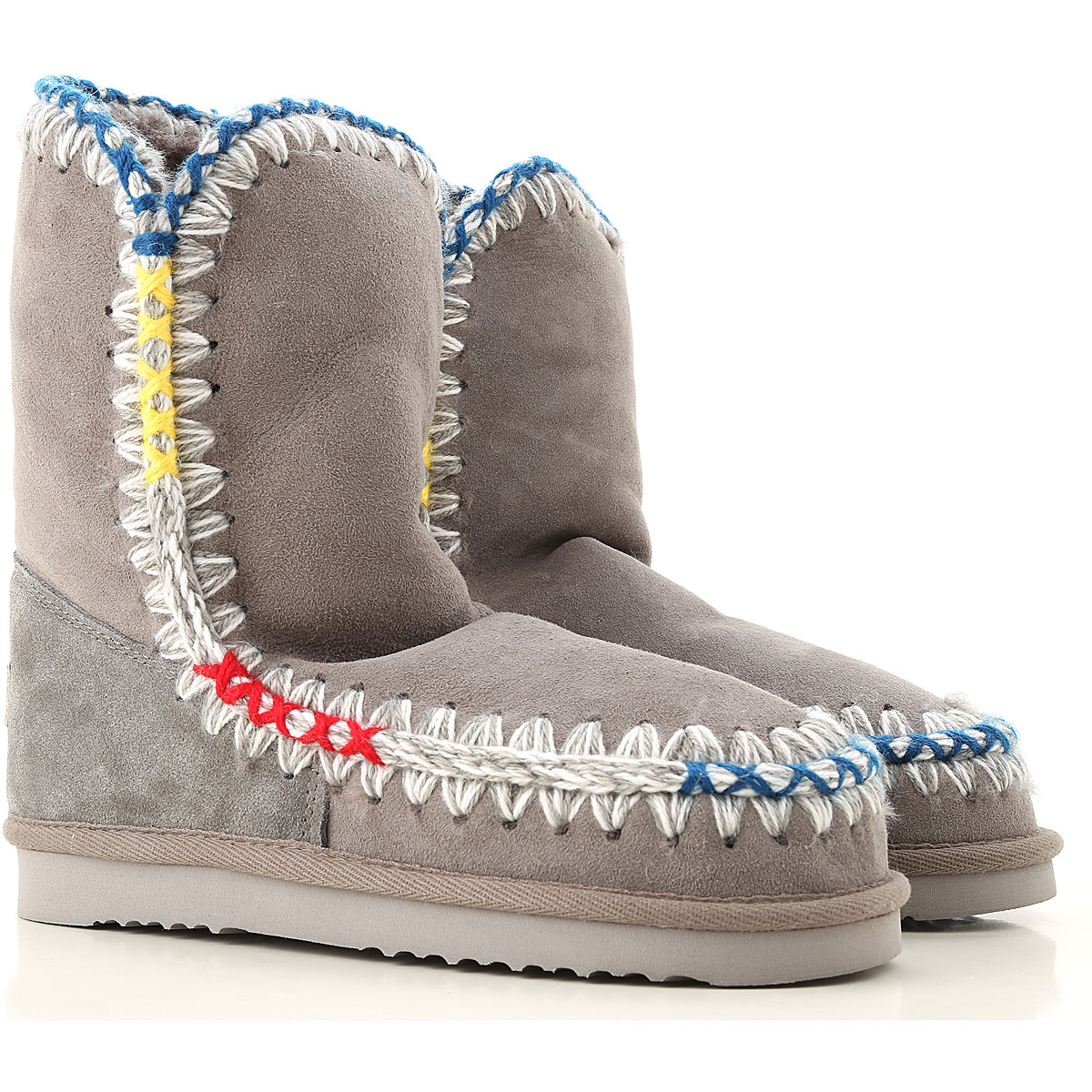 Image of Mou Boots for Women, Booties, Grey, Suede leather, 2017, EUR 37 - UK 4 - USA 6.5 EUR 38 - UK 5 - USA 7.5 EUR 39 - UK 6 - USA 8.5 EUR 40 - UK 7 - USA 9.5 EUR 41 - UK 8 - USA 10.5