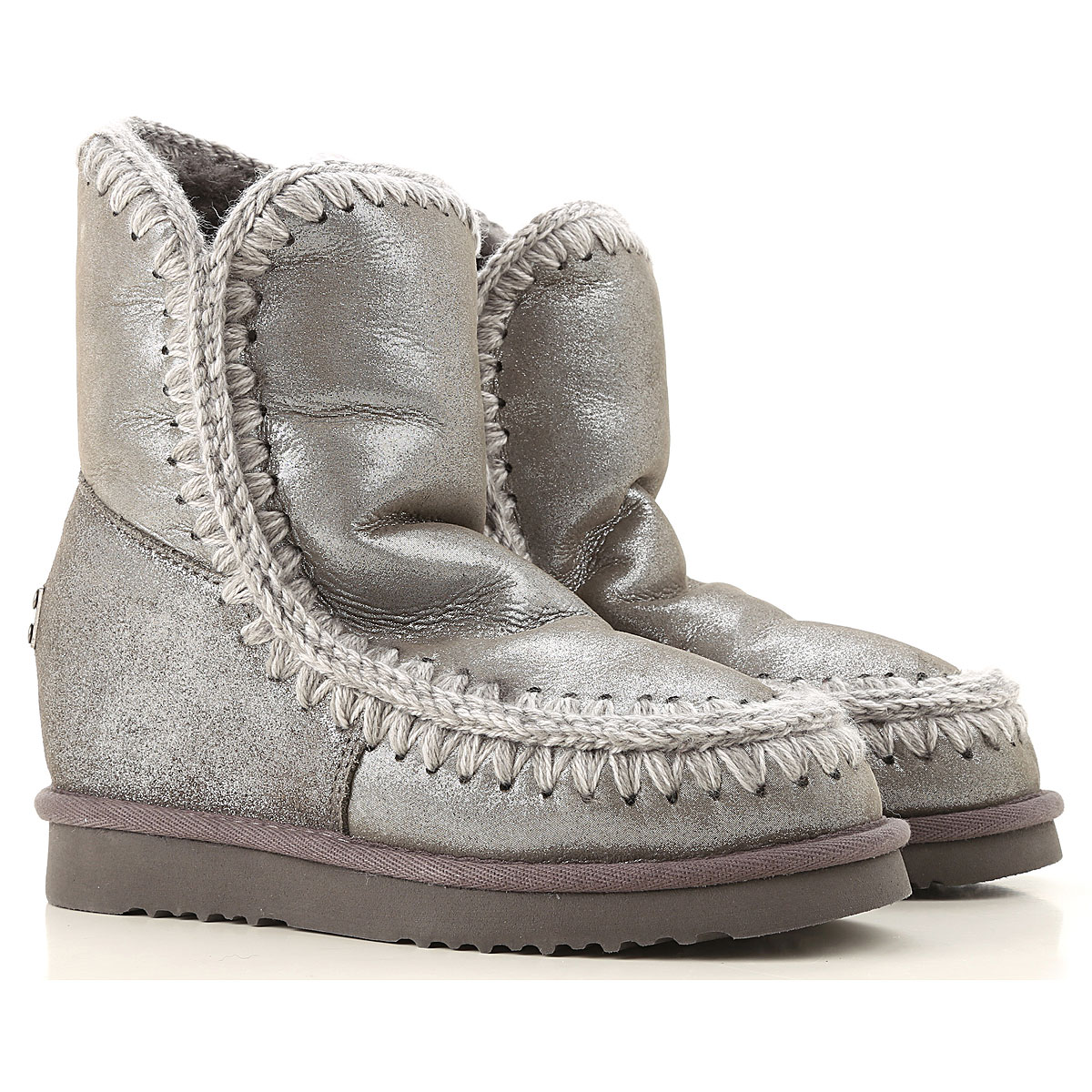 Mou Boots for Women, Booties On Sale, Gray Lurex, Leather, 2019, Eu 35 EUR 40 - UK 7 - USA 9.5