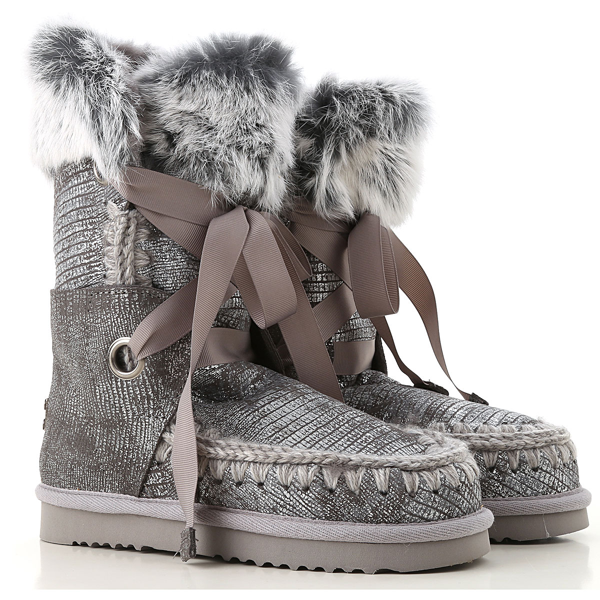 Image of Mou Boots for Women, Booties, Silver, suede, 2017, EUR 36 - UK 3 - USA 5.5 EUR 37 - UK 4 - USA 6.5 EUR 38 - UK 5 - USA 7.5 EUR 39 - UK 6 - USA 8.5 EUR 40 - UK 7 - USA 9.5