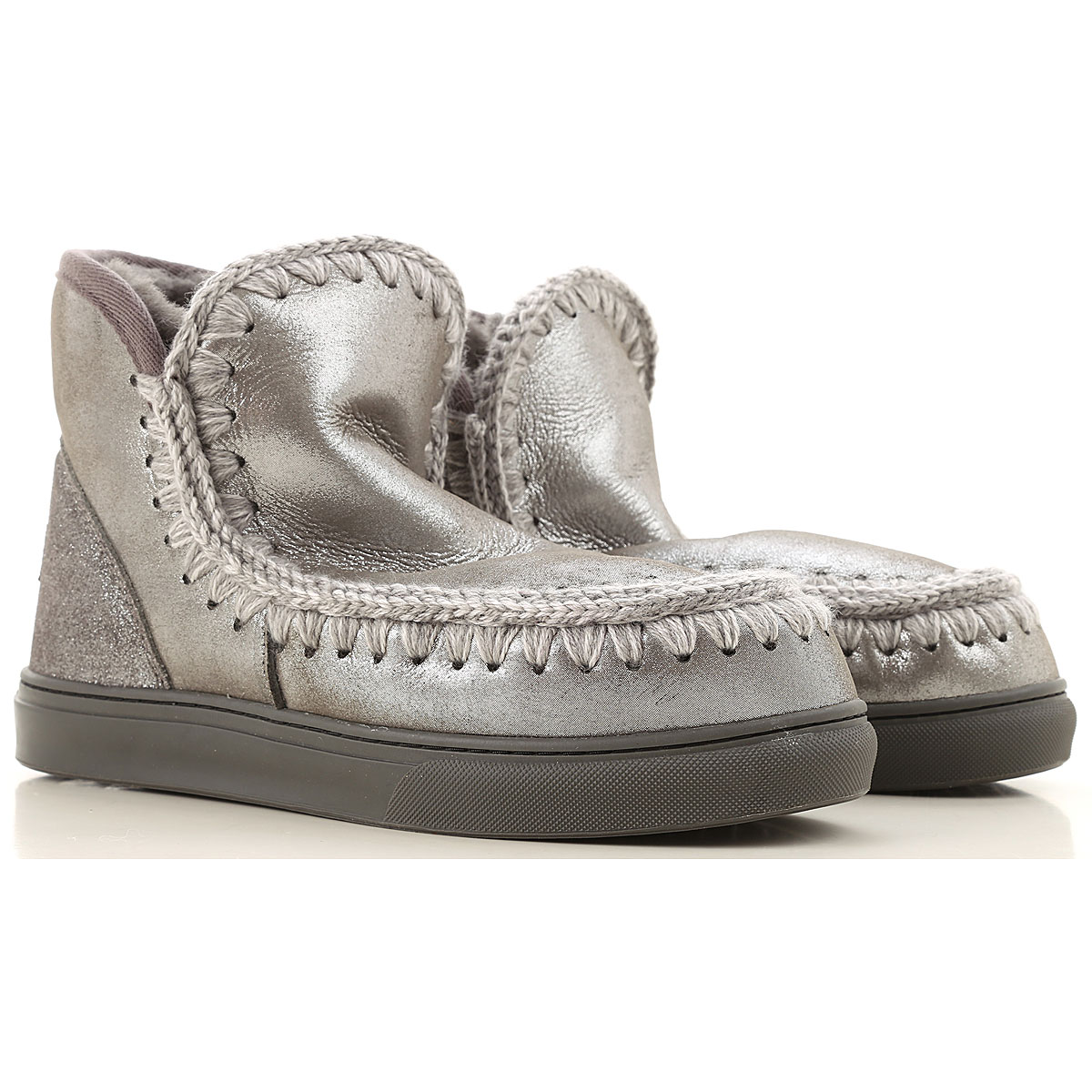 Mou Boots for Women, Booties On Sale, Silver, Leather, 2019, EUR 38 - UK 5 - USA 7 EUR 36 - UK 3 - USA 5.5 EUR 37 - UK 4 - USA 6.5 EUR 39 - UK 6 - USA