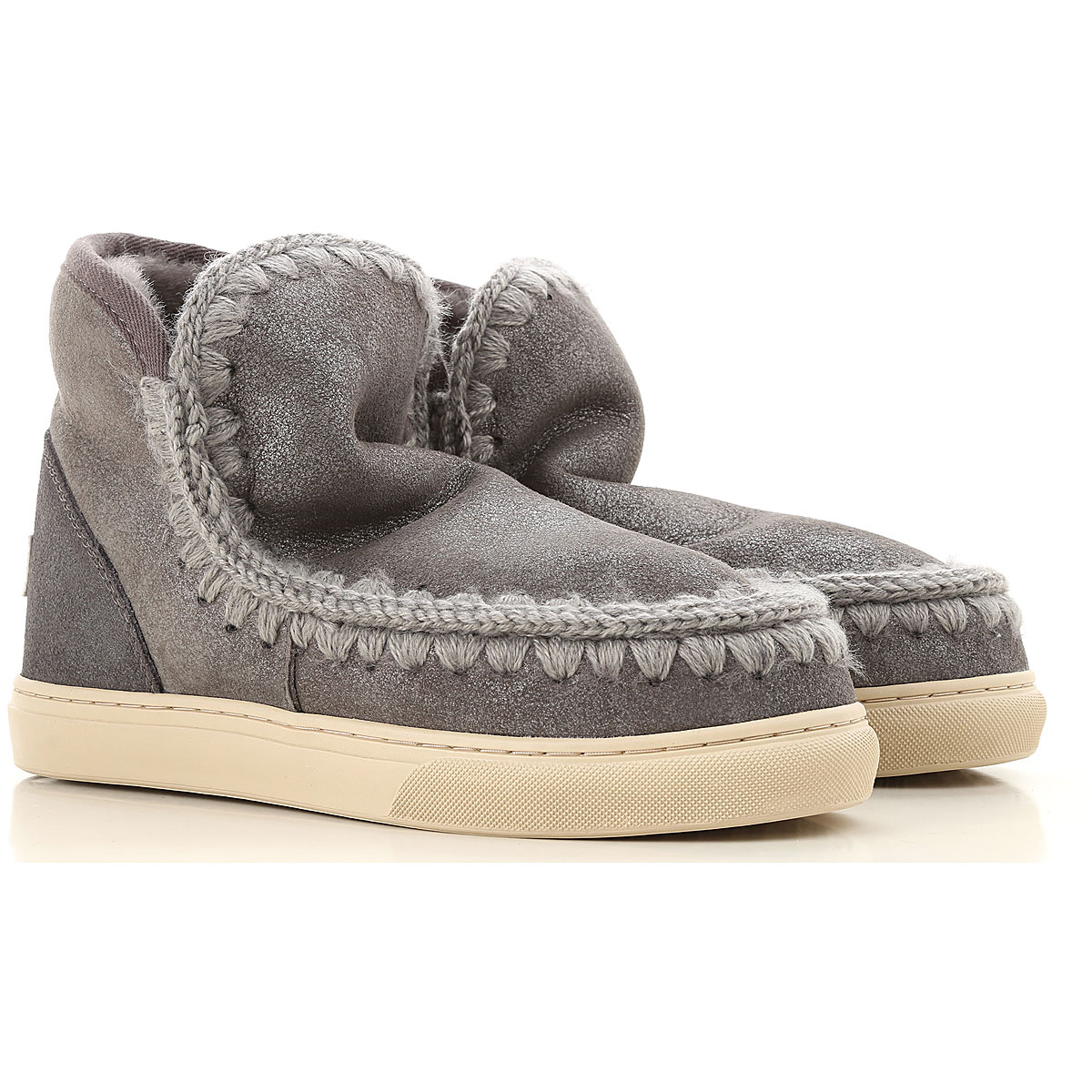 Image of Mou Boots for Women, Booties, Grey, Wool, 2017, EUR 37 - UK 4 - USA 6.5 EUR 38 - UK 5 - USA 7.5 EUR 39 - UK 6 - USA 8.5 EUR 40 - UK 7 - USA 9.5 EUR 41 - UK 8 - USA 10.5