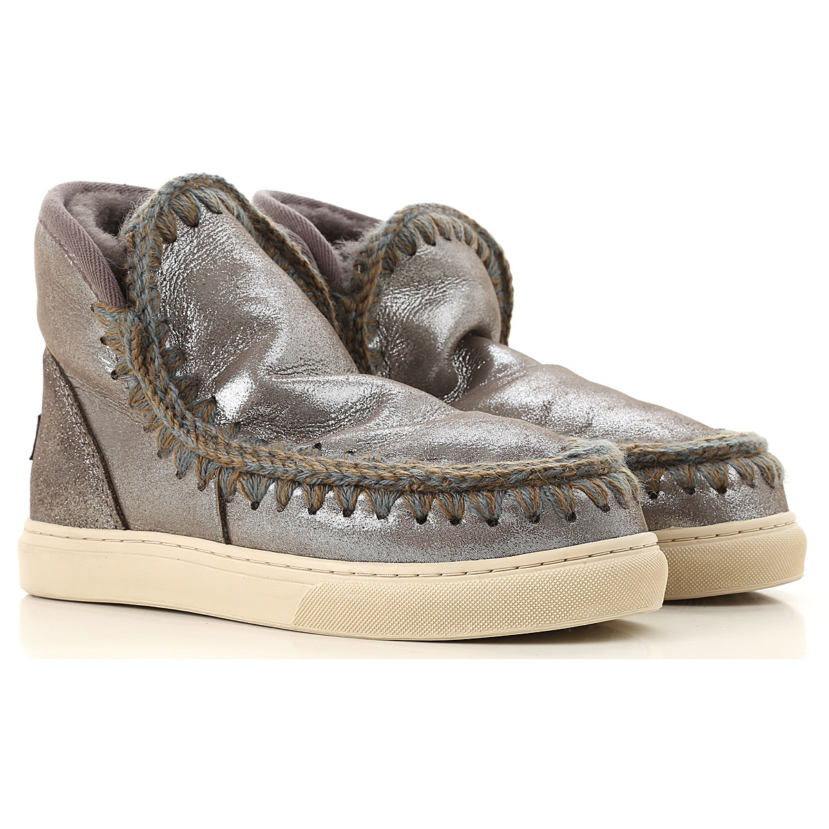 Image of Mou Boots for Women, Booties, Glitter Grey, suede, 2017, EUR 36 - UK 3 - USA 5.5 EUR 37 - UK 4 - USA 6.5 EUR 39 - UK 6 - USA 8.5 EUR 40 - UK 7 - USA 9.5