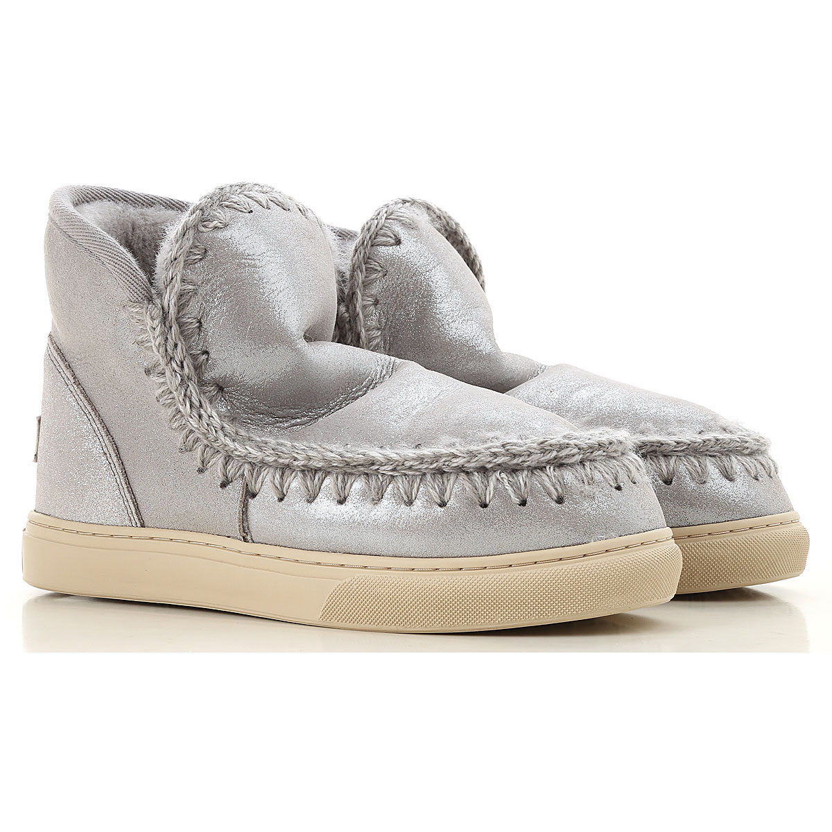 Image of Mou Boots for Women, Booties, Silver, Suede leather, 2017, EUR 36 - UK 3 - USA 5.5 EUR 37 - UK 4 - USA 6.5 EUR 38 - UK 5 - USA 7.5 EUR 39 - UK 6 - USA 8.5 EUR 40 - UK 7 - USA 9.5