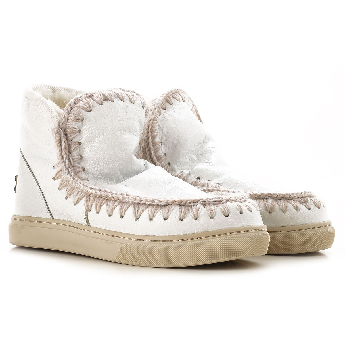 Image of Mou Boots for Women, Booties, White, Leather, 2017, EUR 36 - UK 3 - USA 5.5 EUR 37 - UK 4 - USA 6.5 EUR 38 - UK 5 - USA 7.5 EUR 39 - UK 6 - USA 8.5 EUR 40 - UK 7 - USA 9.5
