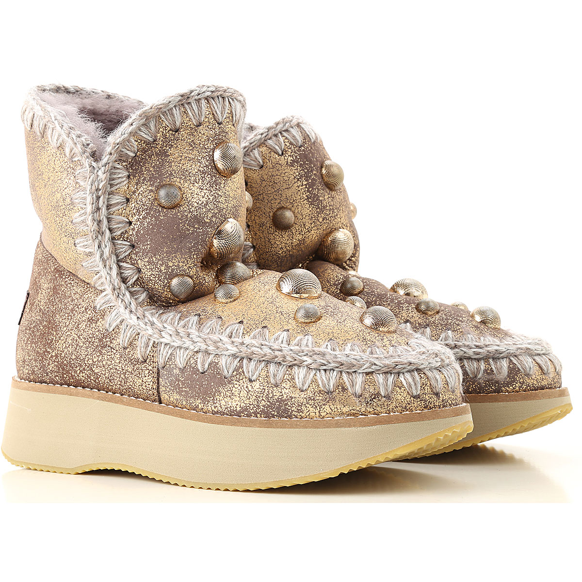 Image of Mou Boots for Women, Booties, Bronze, Leather, 2017, EUR 36 - UK 3 - USA 5.5 EUR 37 - UK 4 - USA 6.5 EUR 38 - UK 5 - USA 7.5 EUR 39 - UK 6 - USA 8.5 EUR 40 - UK 7 - USA 9.5