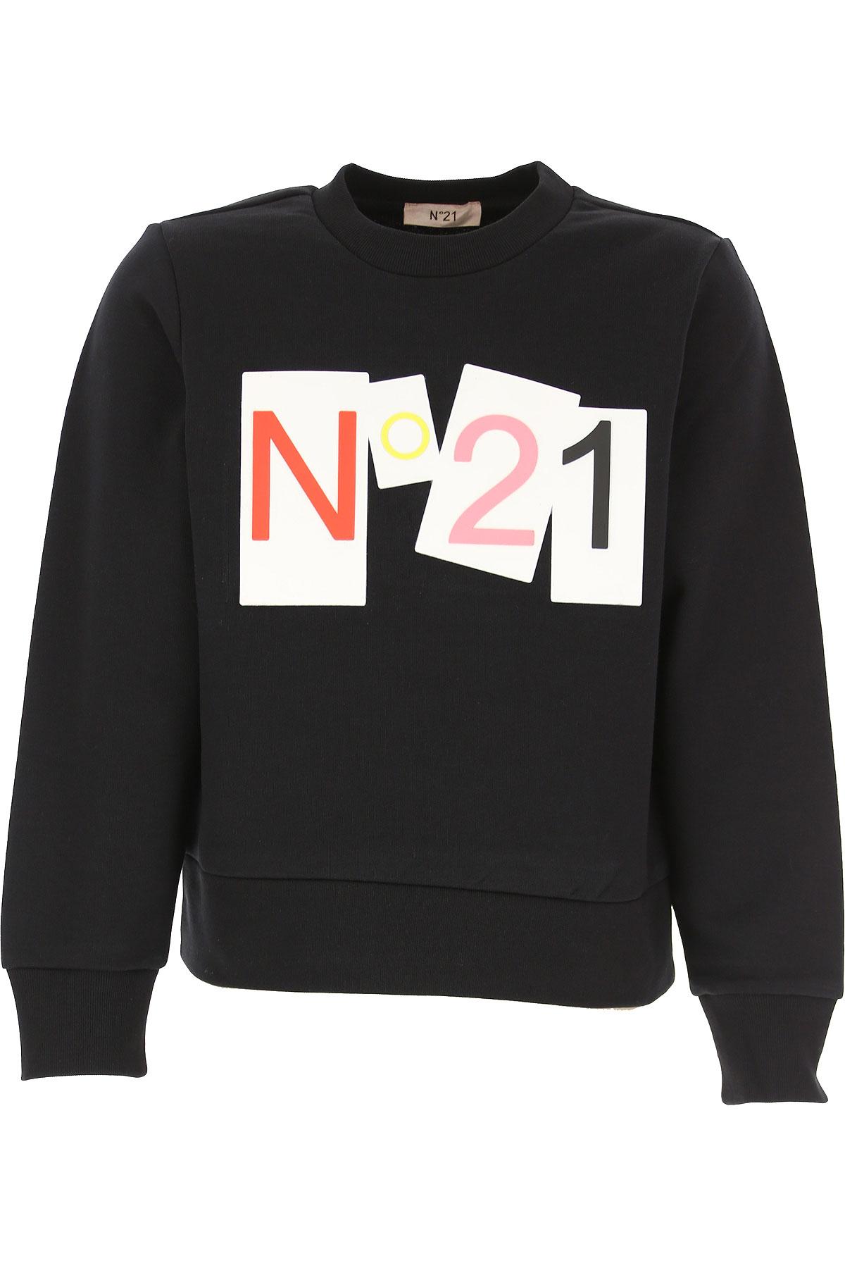NO 21 Kids Sweatshirts & Hoodies for Girls On Sale, Black, Cotton, 2019, 10Y 12Y 4Y 6Y 8Y