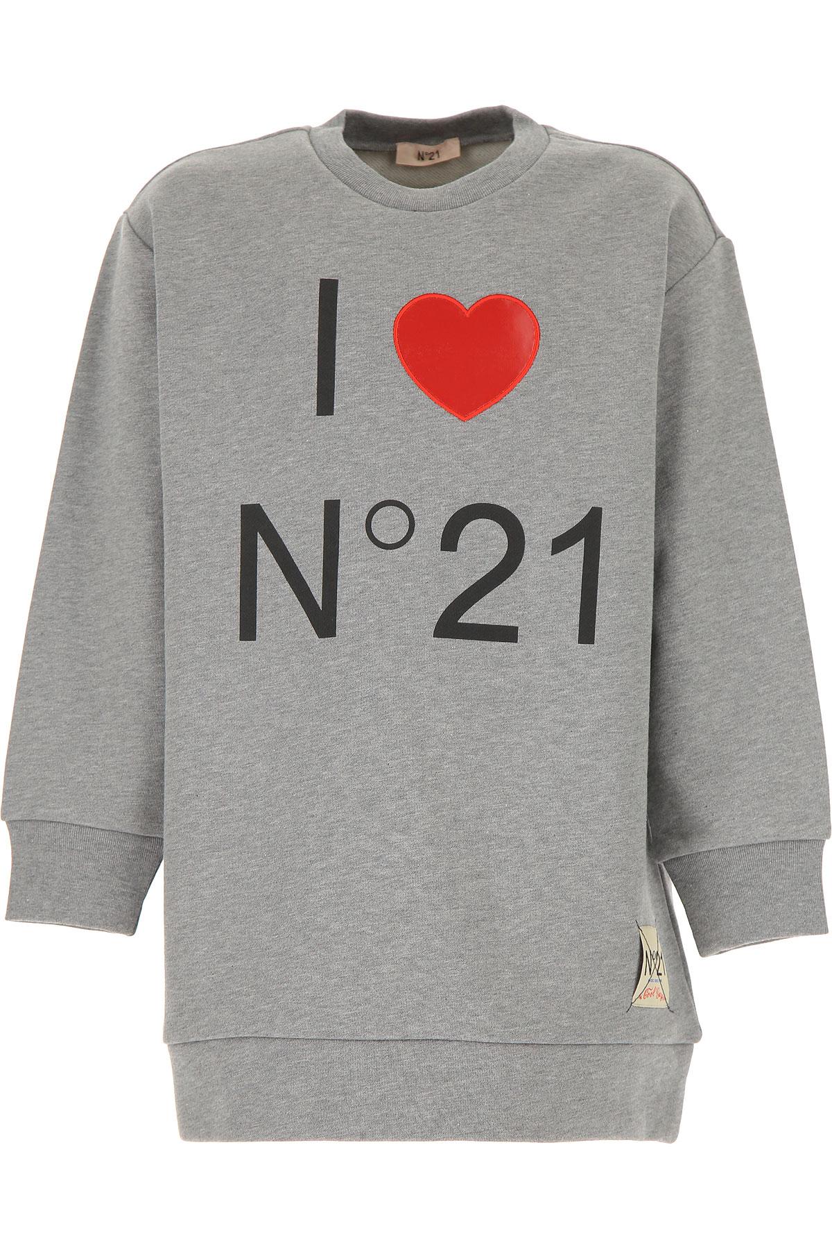 NO 21 Kids Sweatshirts & Hoodies for Girls On Sale, Grey, Cotton, 2019, 10Y 12Y 14Y 4Y 6Y 8Y