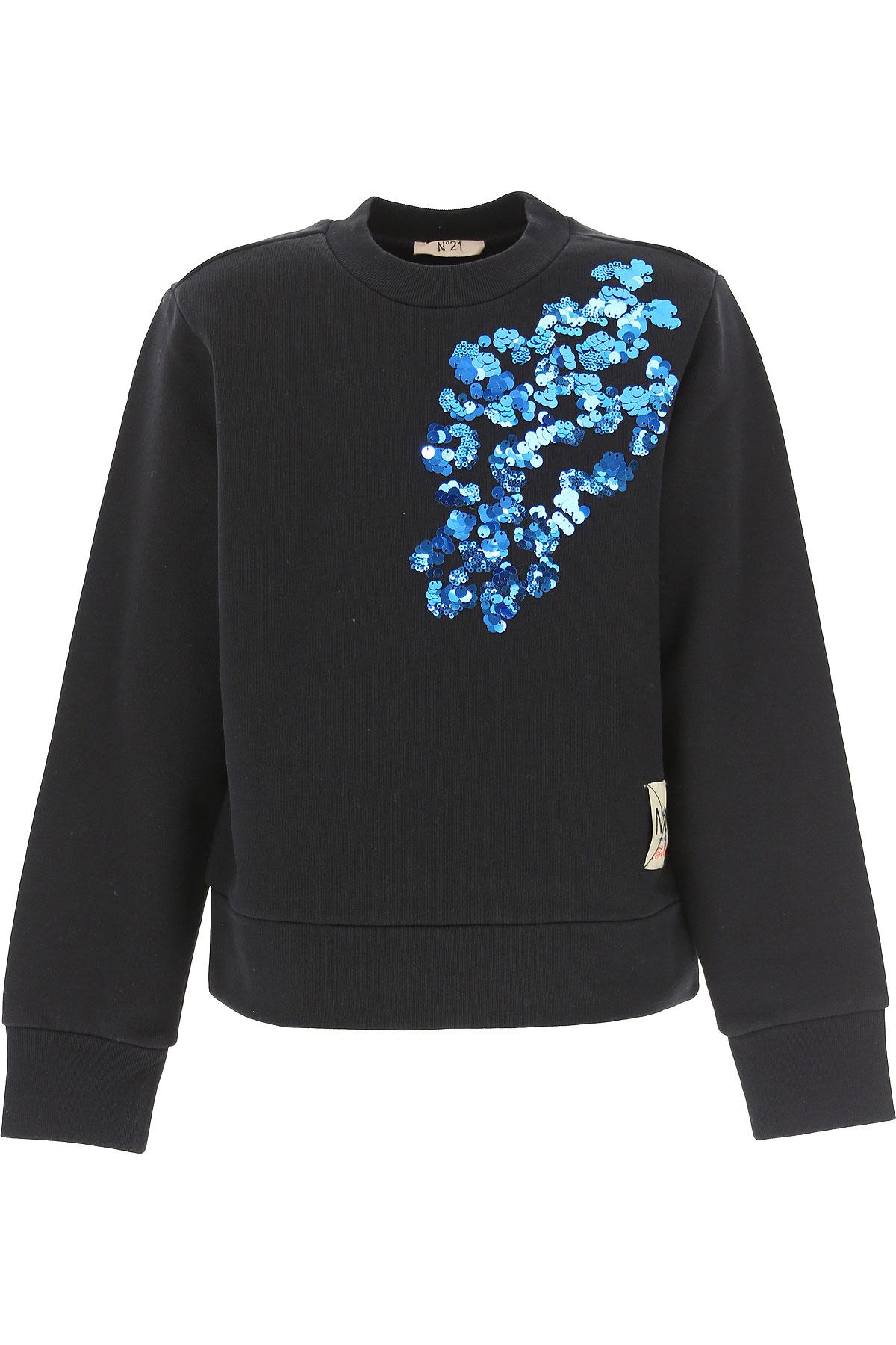 NO 21 Kids Sweatshirts & Hoodies for Girls On Sale, Black, Cotton, 2019, 10Y 12Y 14Y 4Y 6Y 8Y