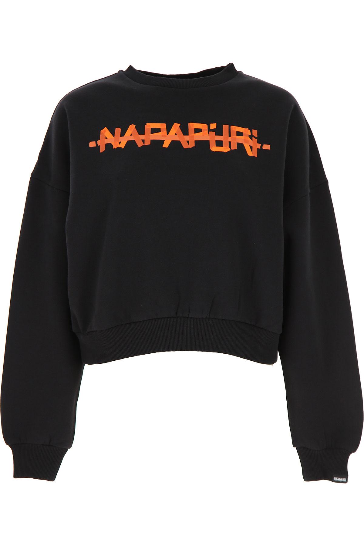 Napapijri Sweatshirt for Women On Sale, Black, Cotton, 2019, 2 4 6 8