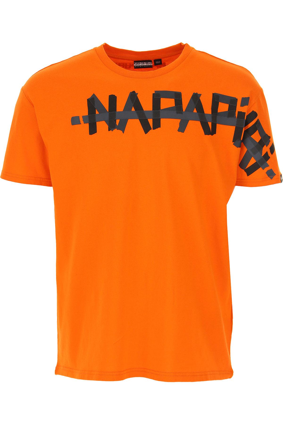 Napapijri T-Shirt for Men On Sale, Orange, Cotton, 2019, L S XS