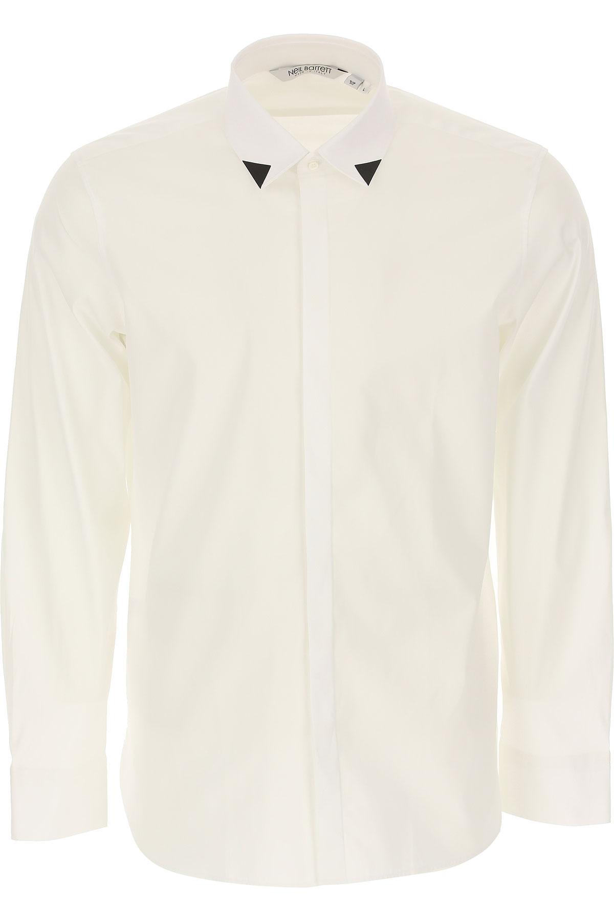Neil Barrett Shirt for Men, White, Cotton, 2019, S • IT 46 M • IT 48 L • IT 50