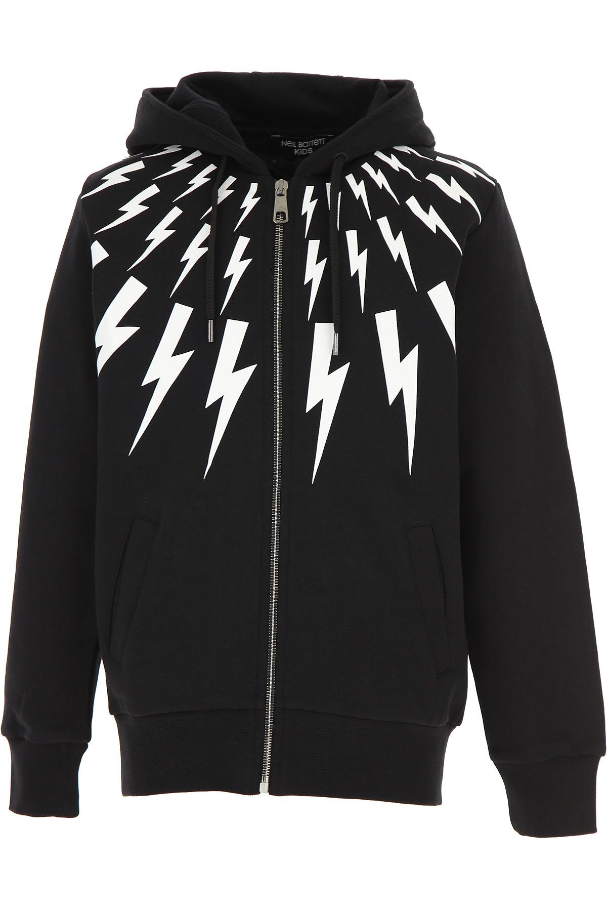 Neil Barrett Kids Sweatshirts & Hoodies for Boys On Sale, Black, Cotton, 2019, 10Y 12Y 8Y