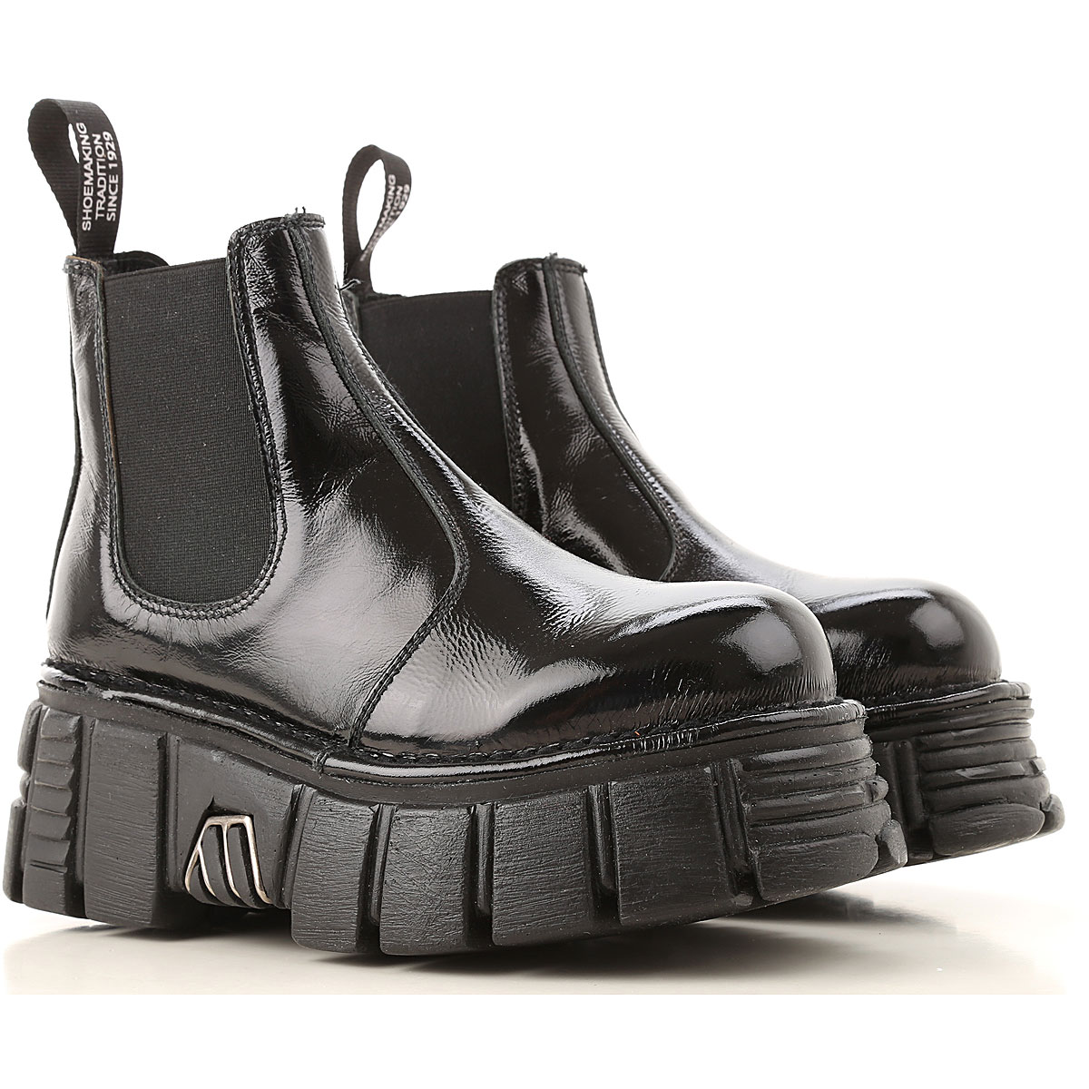 New Rock Chelsea Boots for Women On Sale, Black, Patent Leather, 2019, 10 11